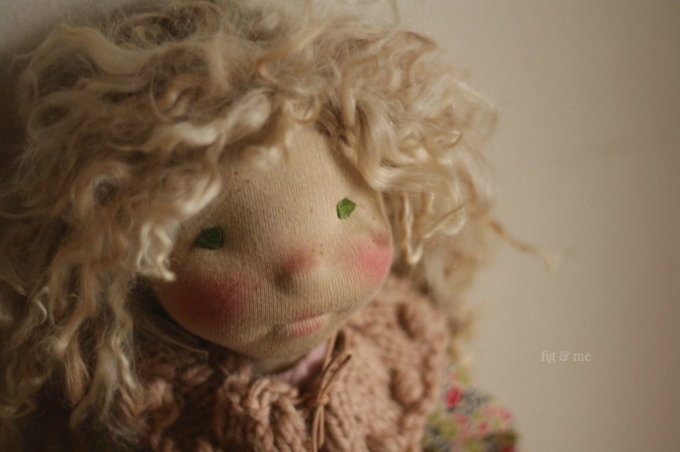 Sisley and her freckles, by Fig and Me. A waldorf-inspired natural fiber art doll.