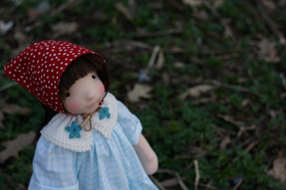 Me and spotted kerchief: Imogen, a natural fiber art doll by Fig and Me.