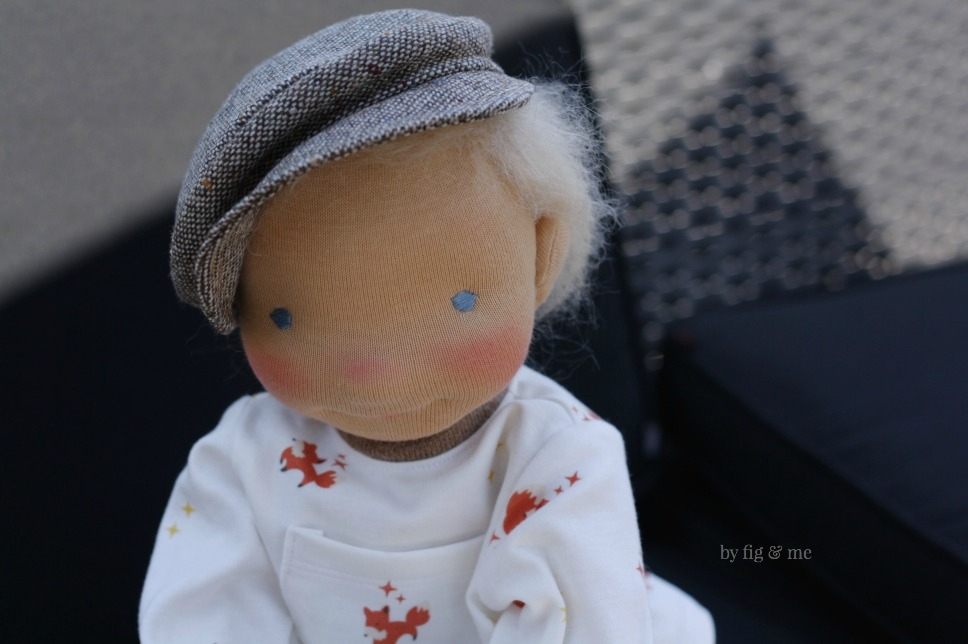 Little Caleb, a natural fiber art doll by Fig and Me.
