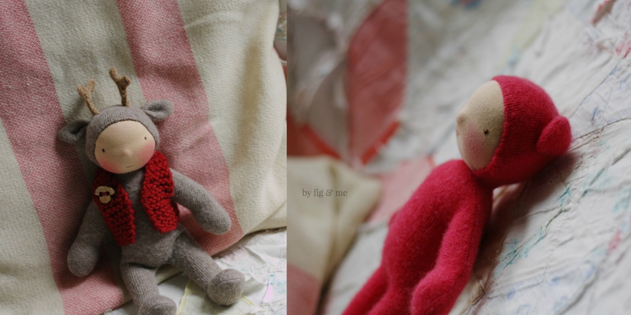 Wee Babies by Fig and Me. Made with repurposed cashmere sweaters, stuffed with wool and blushed with red beeswax.
