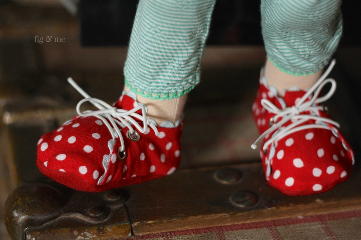 Red dotty shoes with blue ric-rac. By Fig & Me.