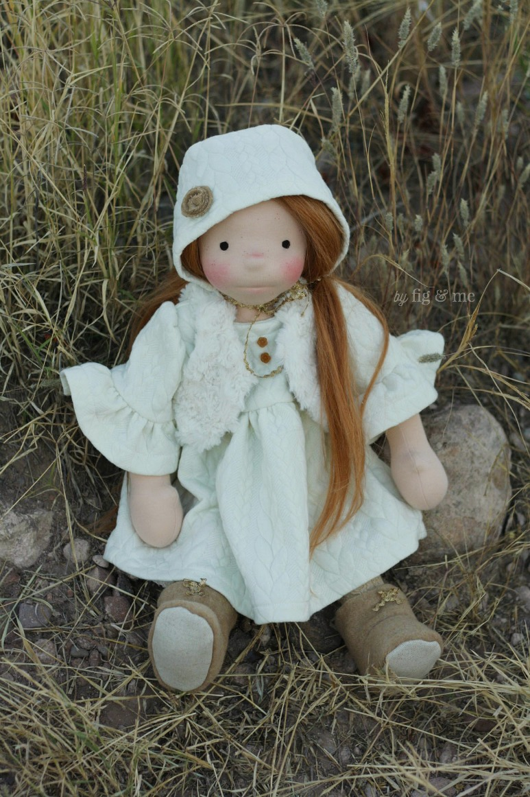 """Pippa, a custom 18"""" figlette by Fig and Me."""