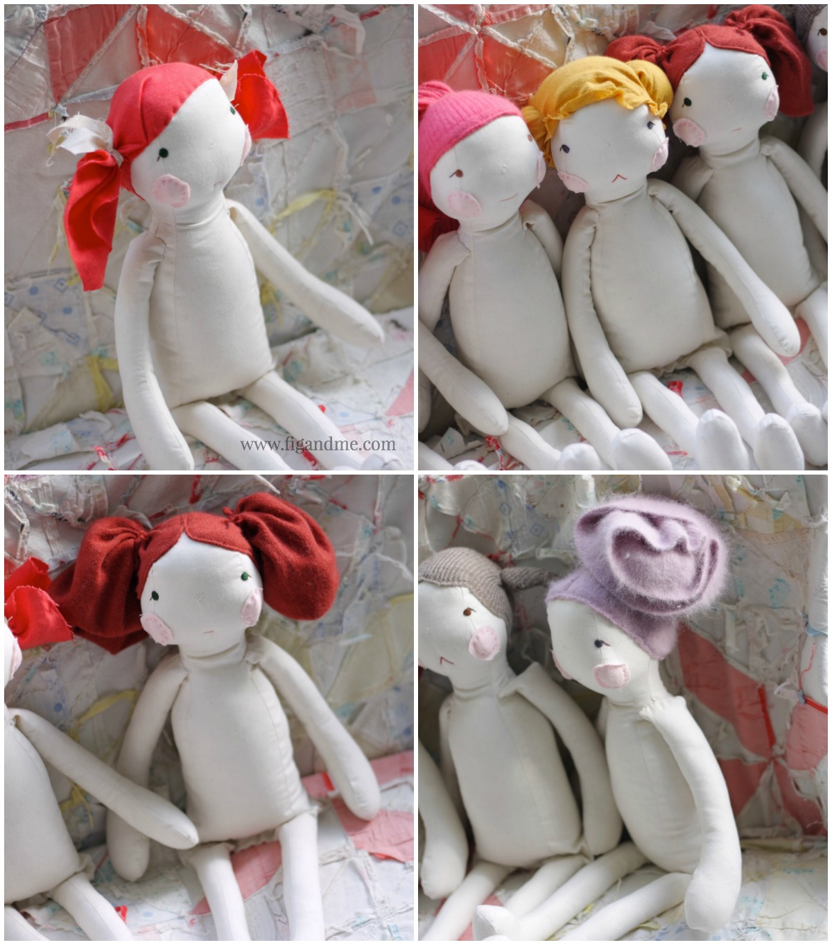 Discussing doll hair: fabric cap on a Cloth Fig doll, via Fig and me. I have used draped linen, and also repurposed cashmere, lambswool, merino, etc.