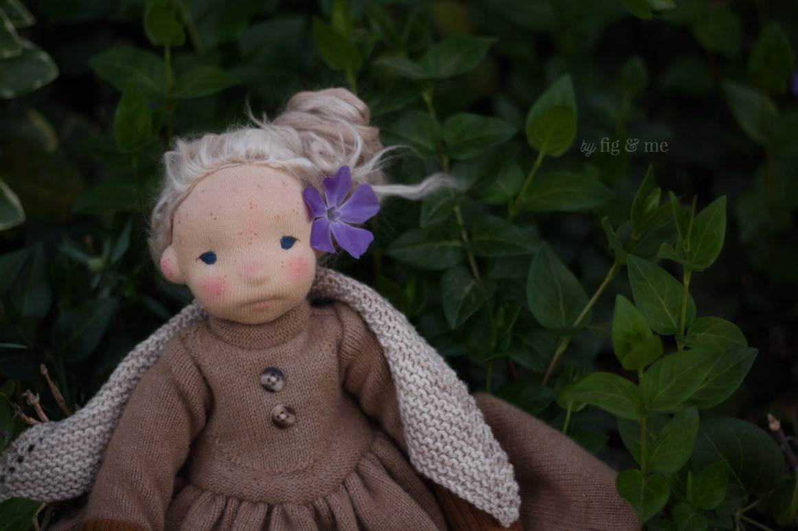 Anwen, wearing her cashmere dress and hand knit shawl. By Fig and Me.