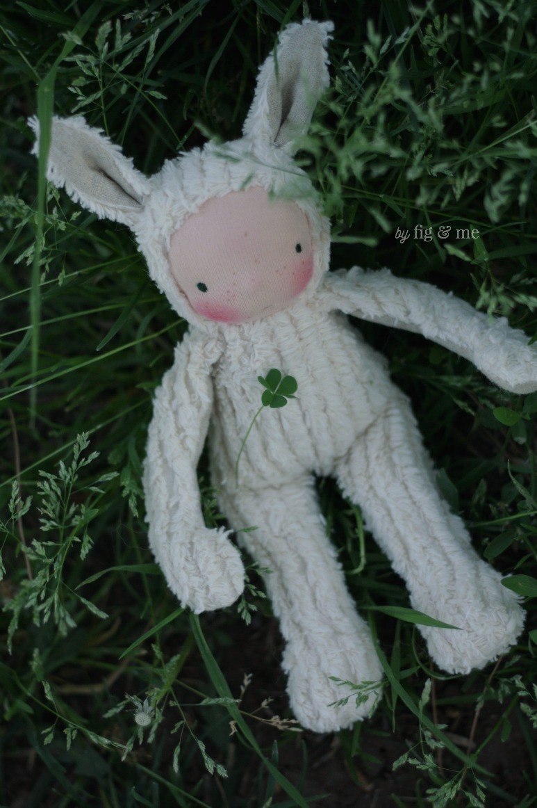 A spring baby bunny, made with cotton chenille and linen, by Fig and Me.