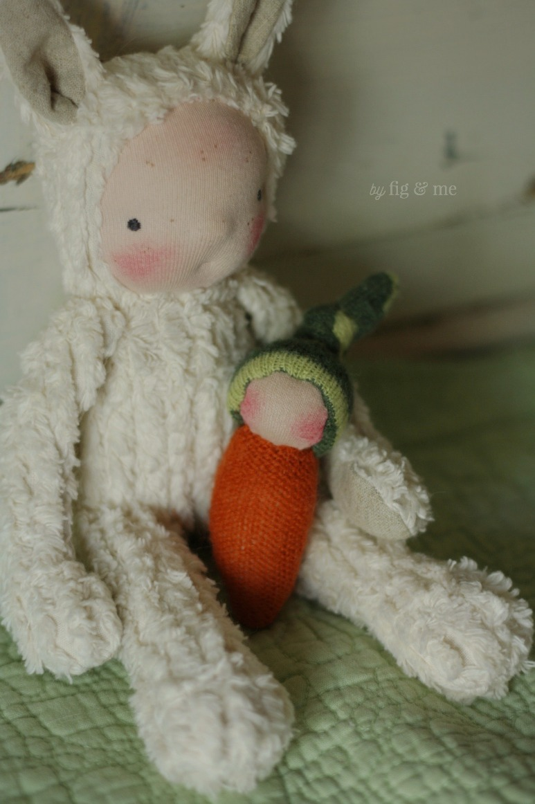 A spring baby bunny and his carrot baby, by Fig and Me.