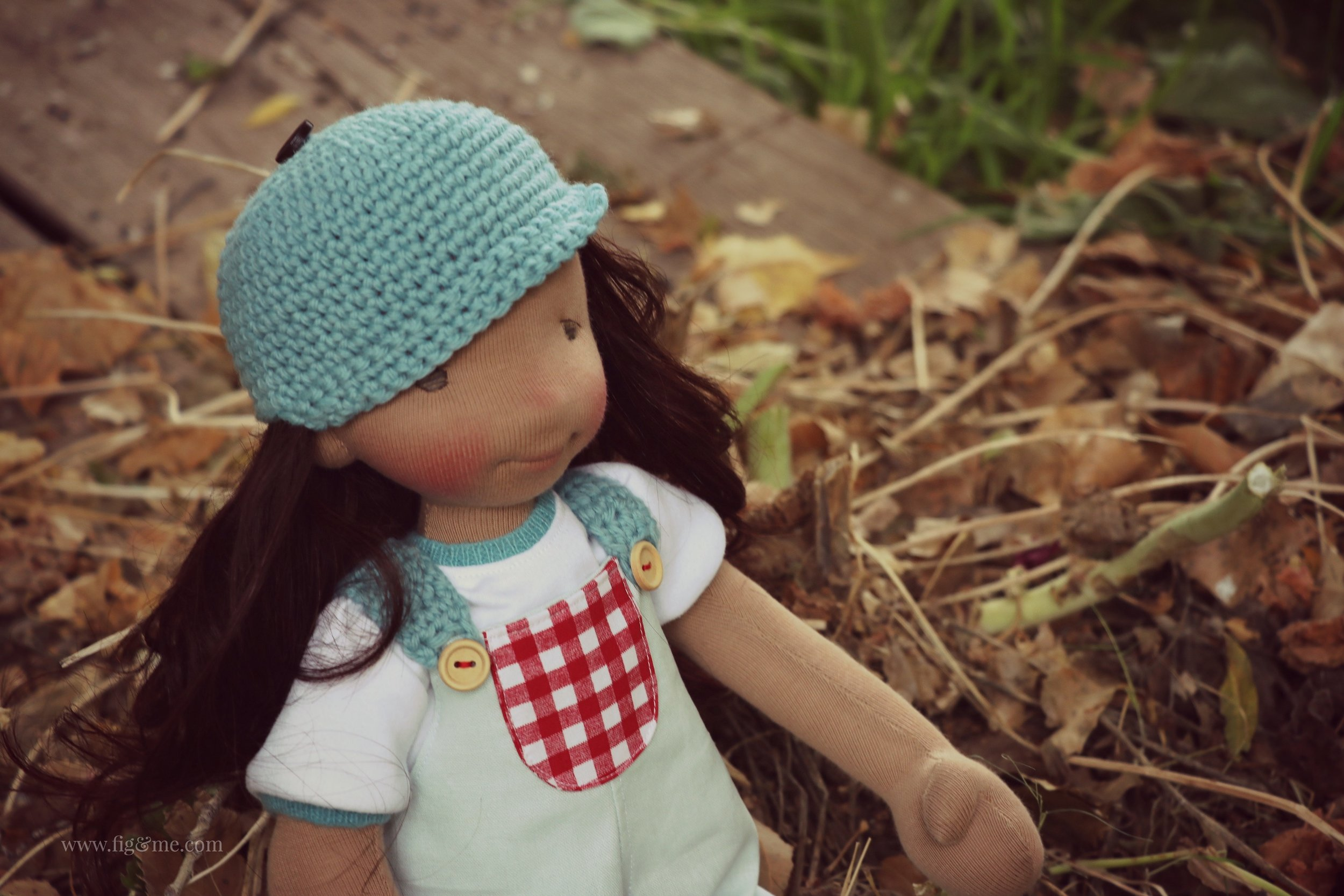 Eileen, a custom natural fiber art doll, by Fig and me.