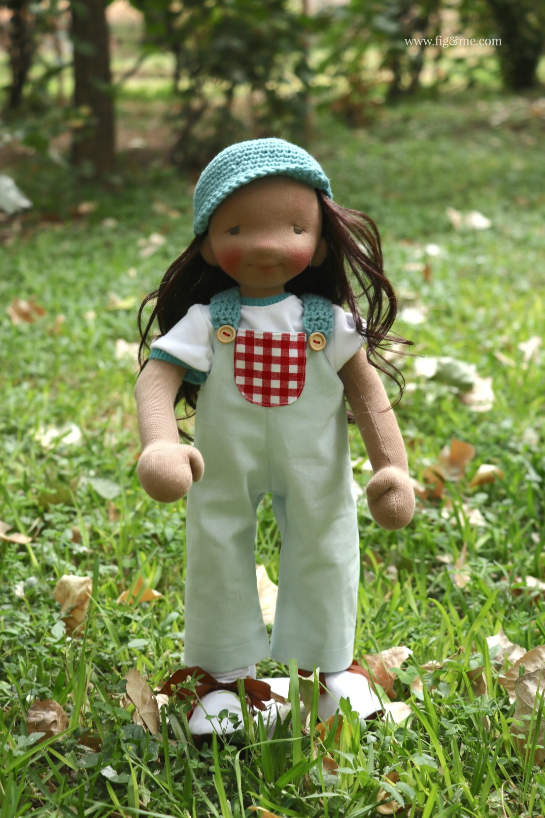 Eileen, wearing her garden overalls made of linen and red gingham. By Fig and Me.