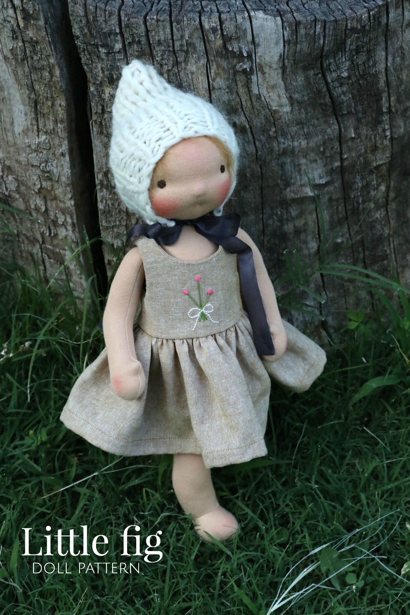 """The Little Fig Doll Pattern allows you to create a 14"""" tall doll, made with cotton fabric and stuffed with wool. A soft mohair wig adds so much charm and playfulness to the doll. (via Fig and me)"""