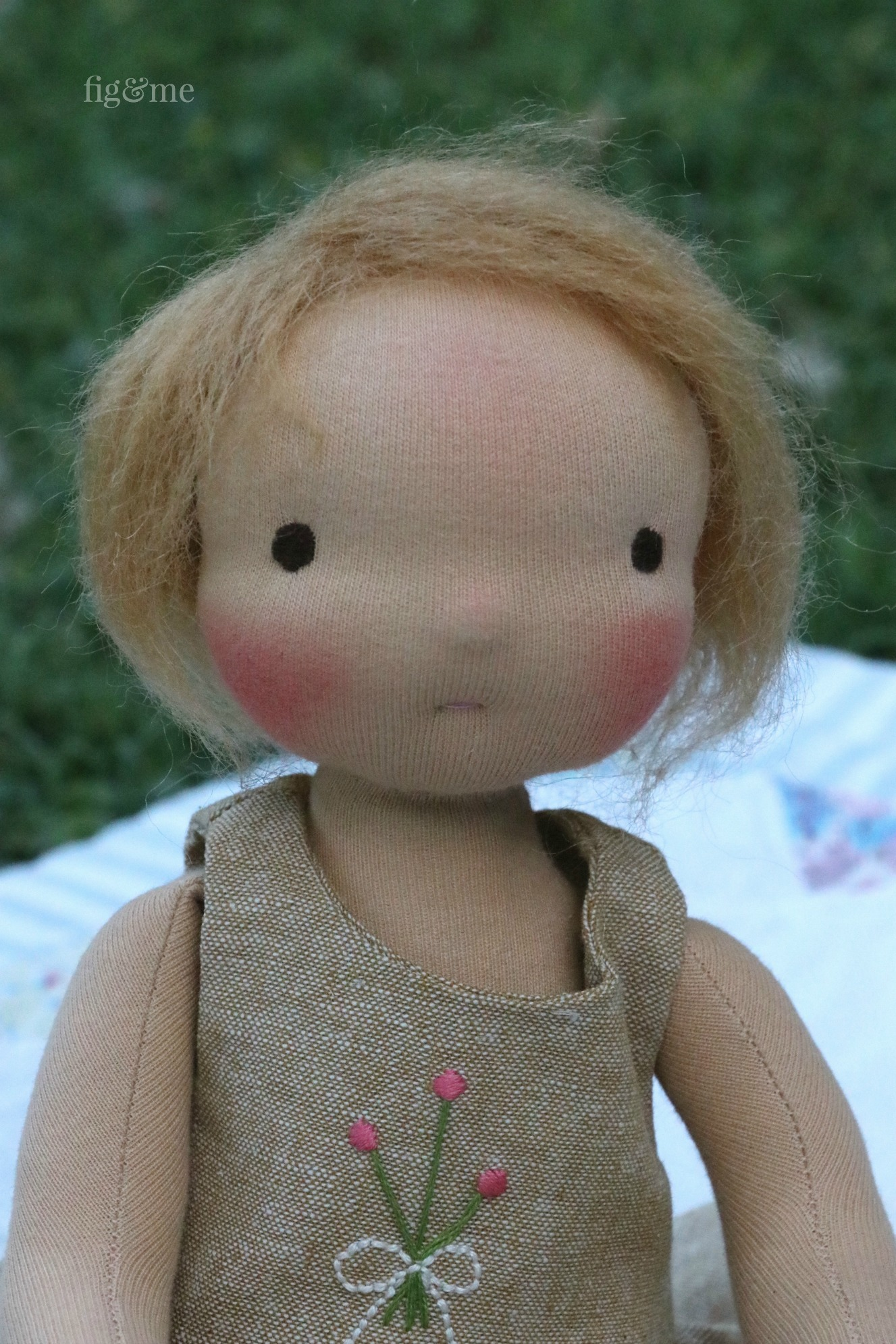 """The Little Fig dollmaking pattern creates a small 14"""" doll. via Fig and me."""