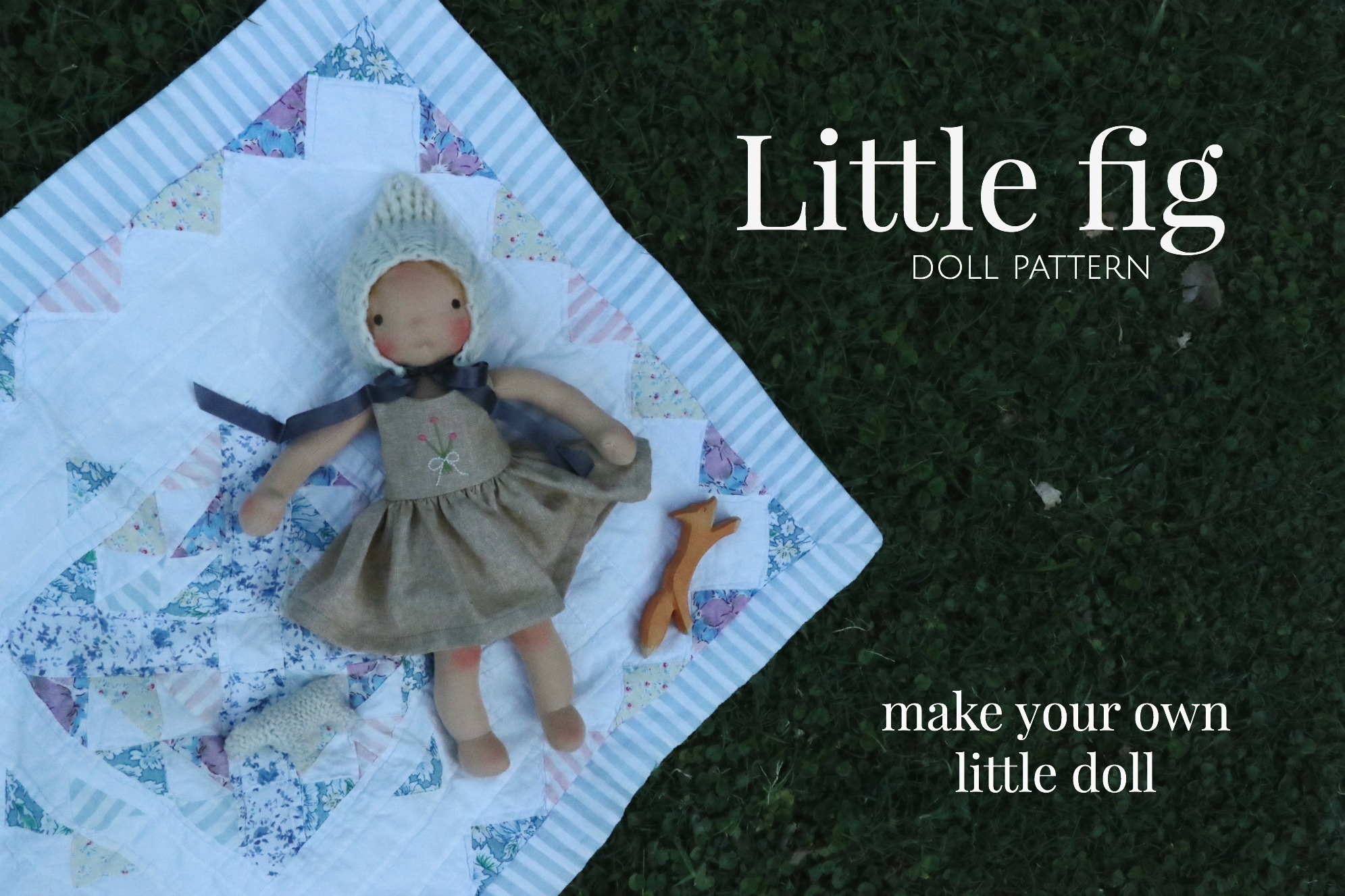 """Create your own little 14"""" doll with the Little Fig doll pattern. via Fig and Me."""
