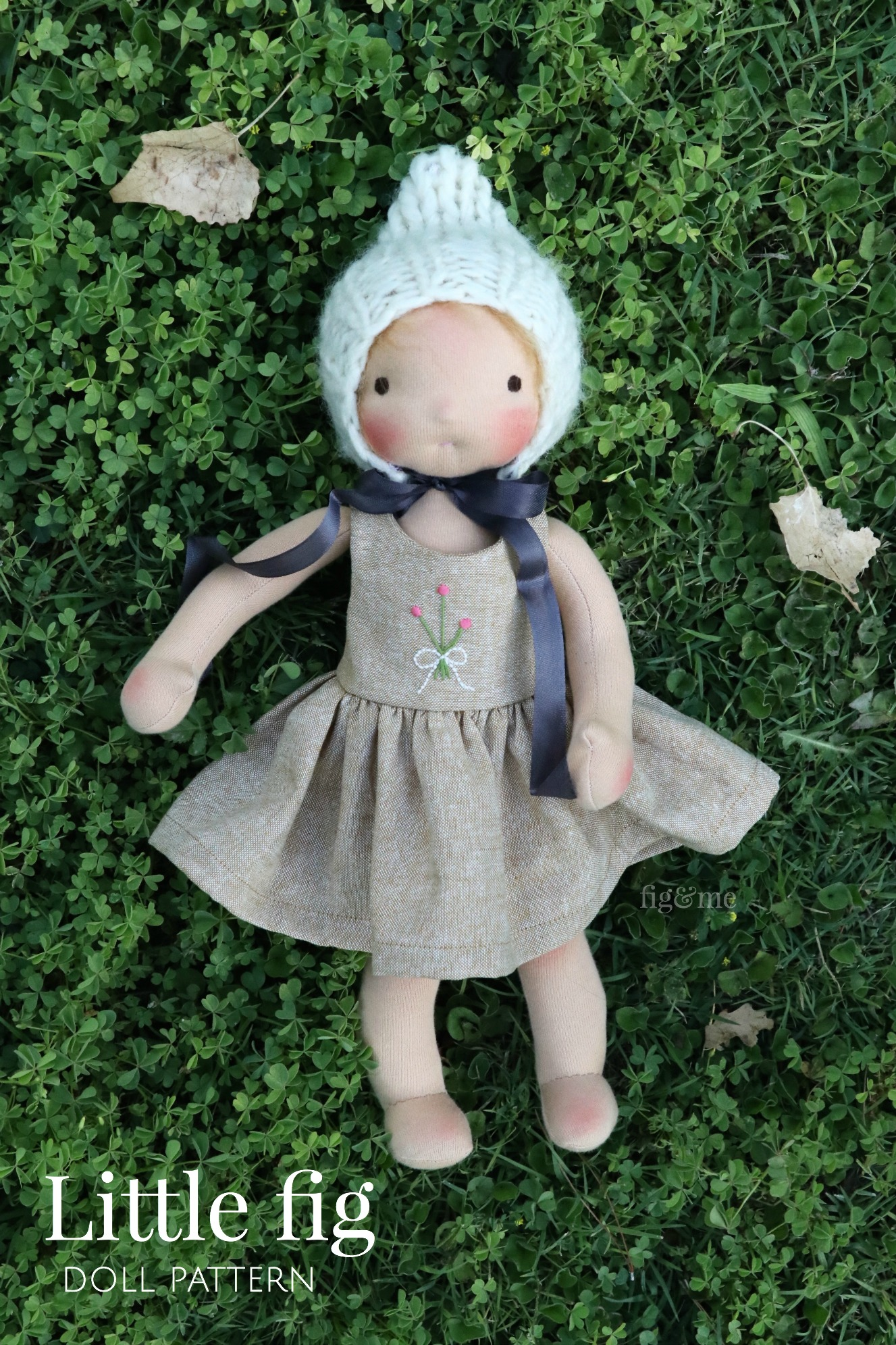 """The Little Fig doll pattern is available for your crafty hands. Create a 14"""" doll with this sweet design, via fig and me."""