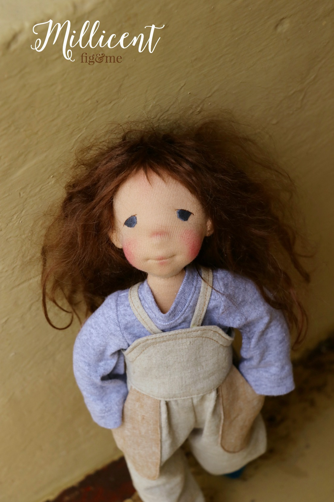 Millicent, a poseable art doll, all sculpted in wool with inner armature, and interchangeable wigs. By Fig and me.