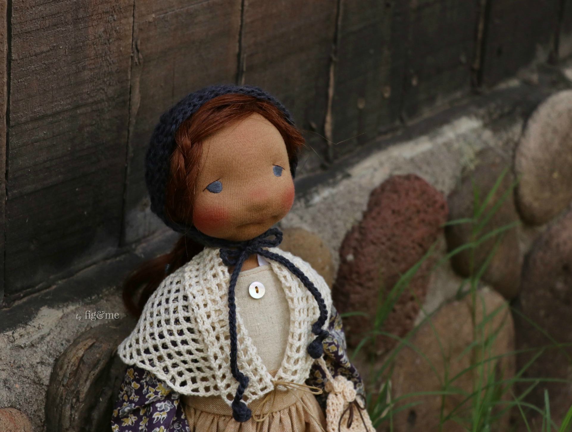Rayne, a natural fiber art doll by Fig and Me.