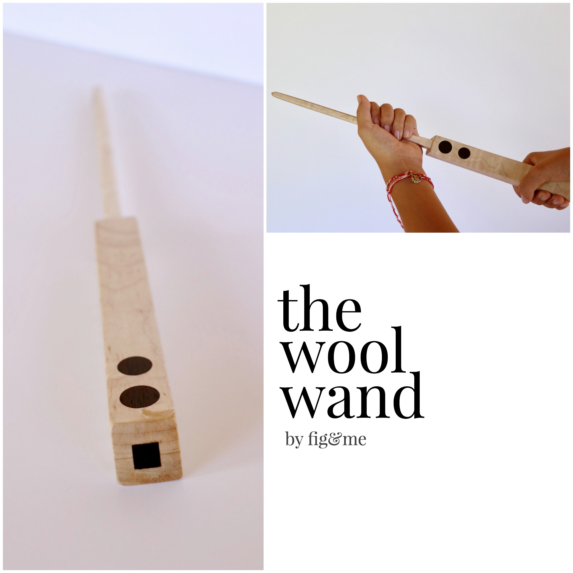 The wool wand, a wooden tool for stuffing dolls with. By Fig and Me.