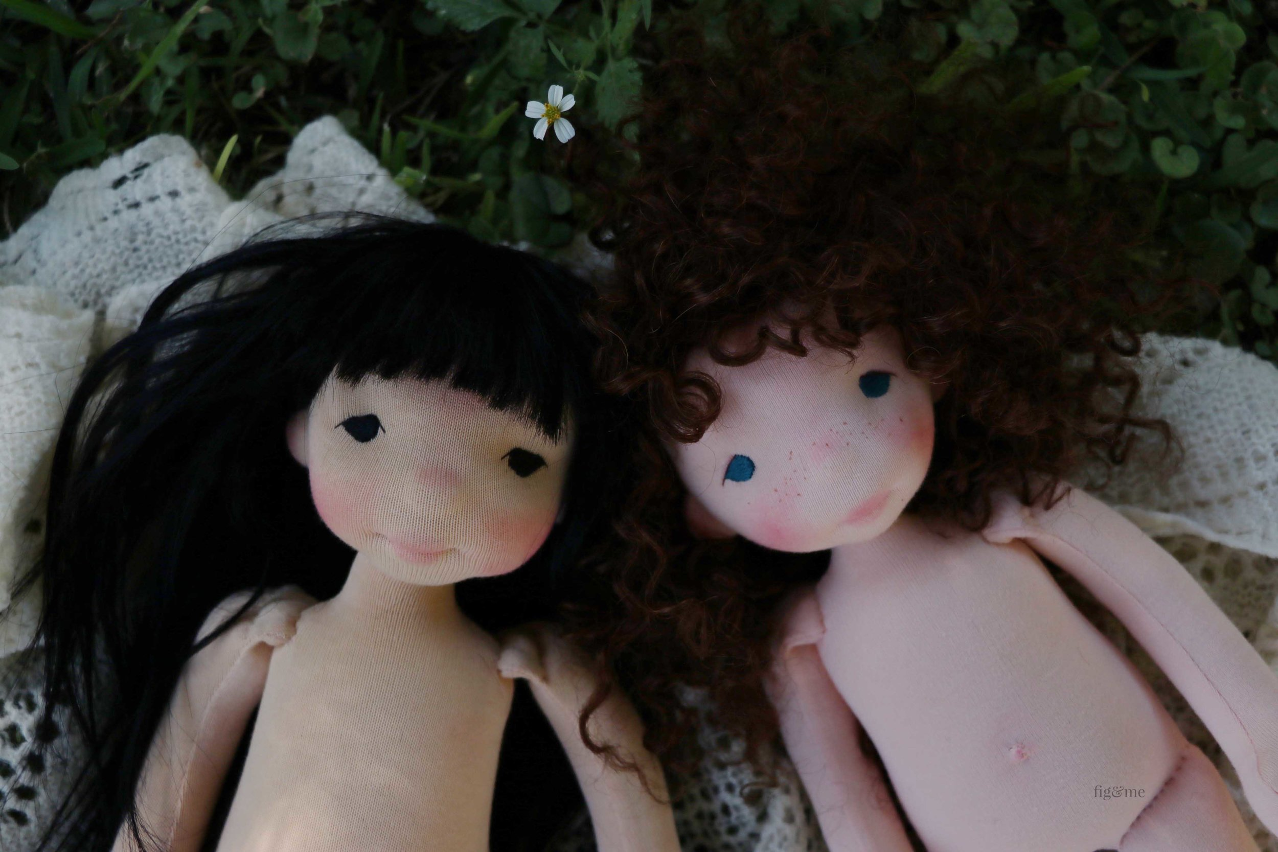 Two contemporary art dolls by Fig and Me.