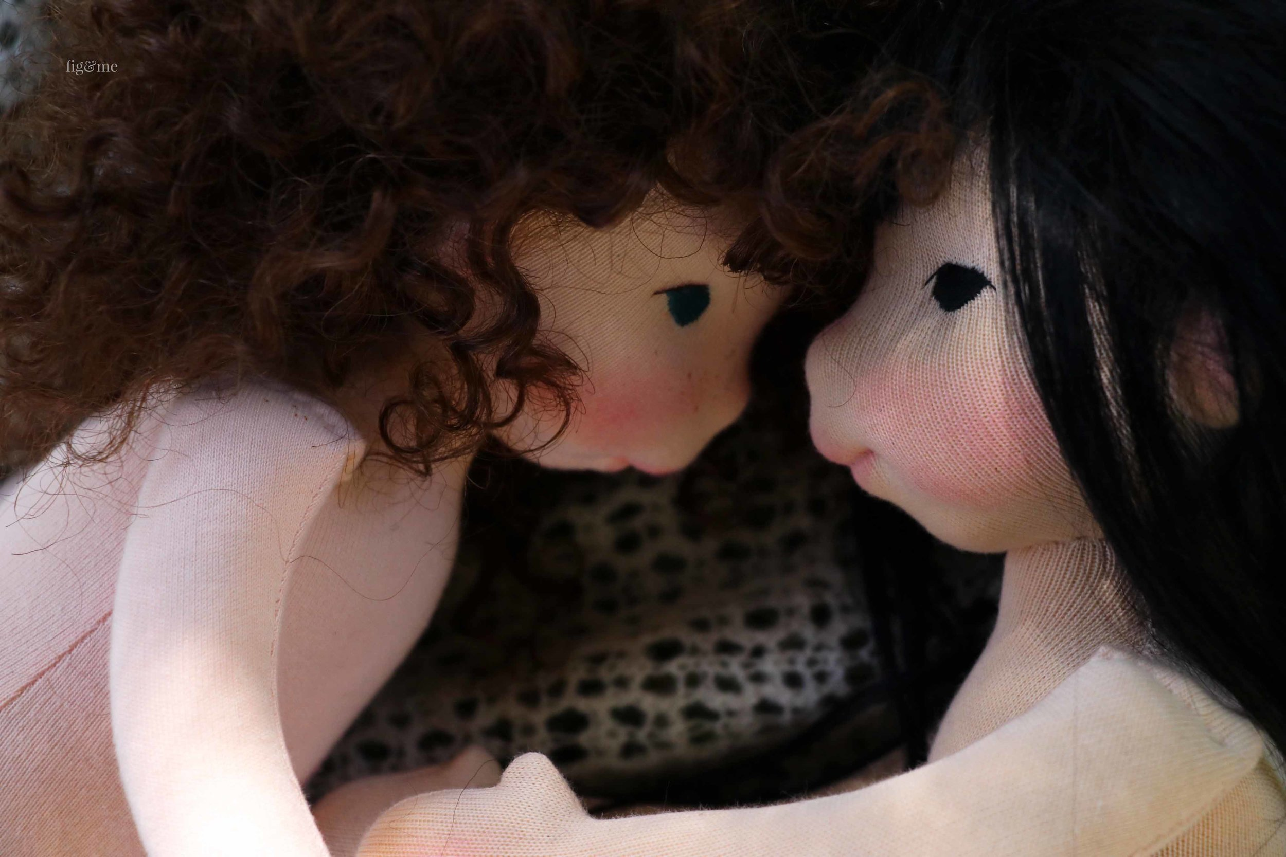 Pia and Aoki, two natural fiber art dolls by Fig and Me.