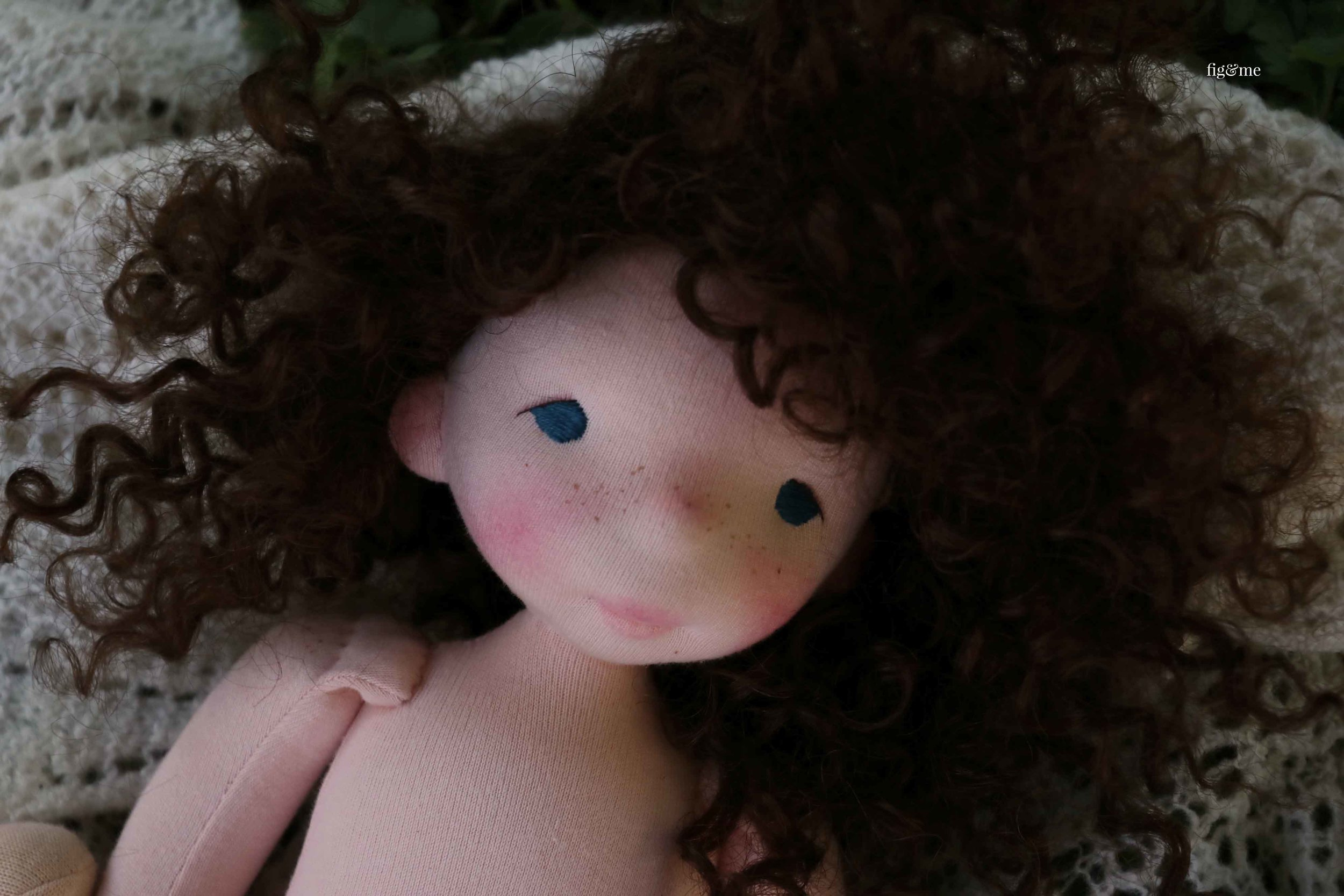 Sweet Pia, a natural fiber art doll by Fig and Me.