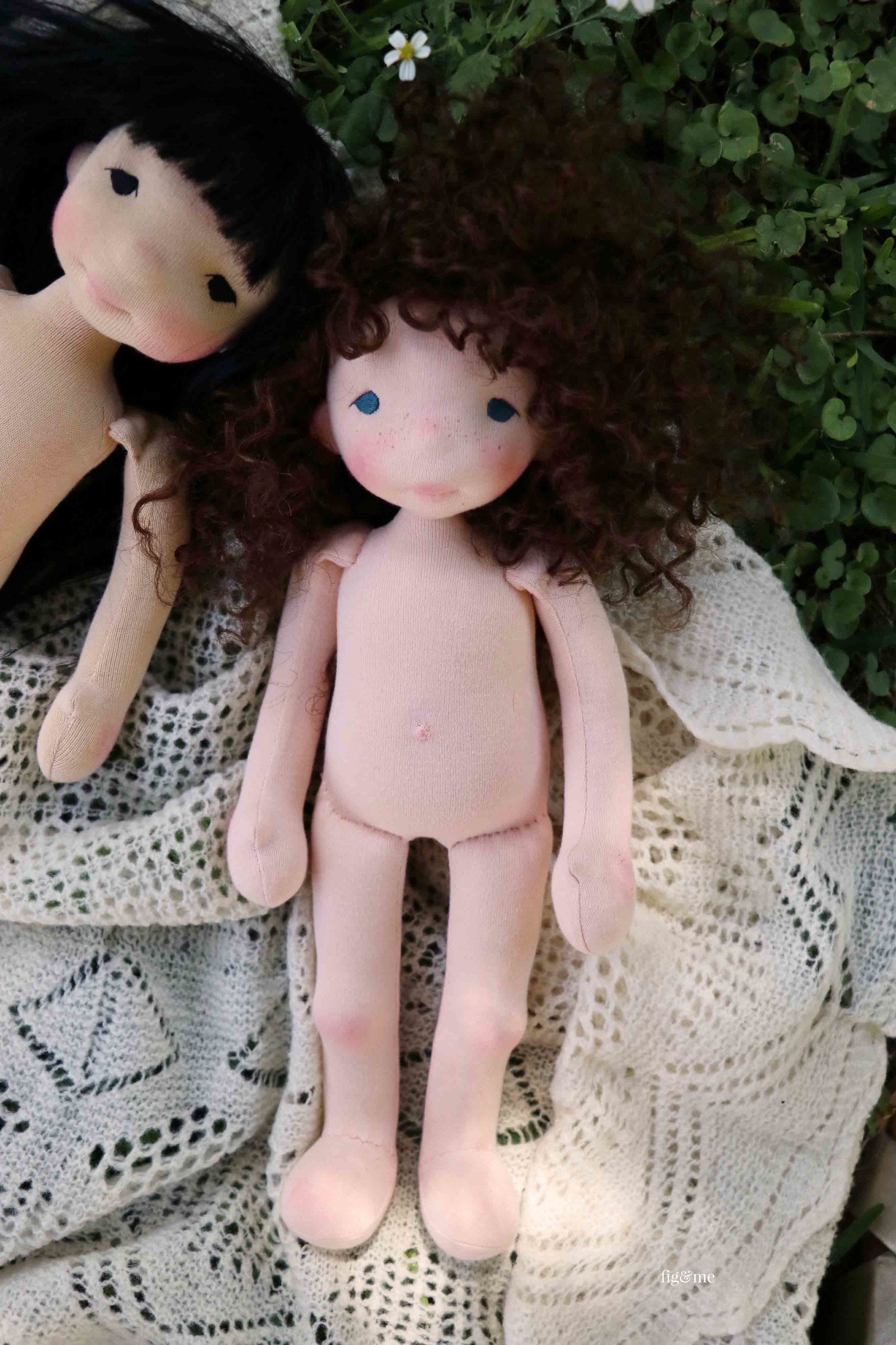 Little Pia, a natural cloth art doll by Fig and Me.