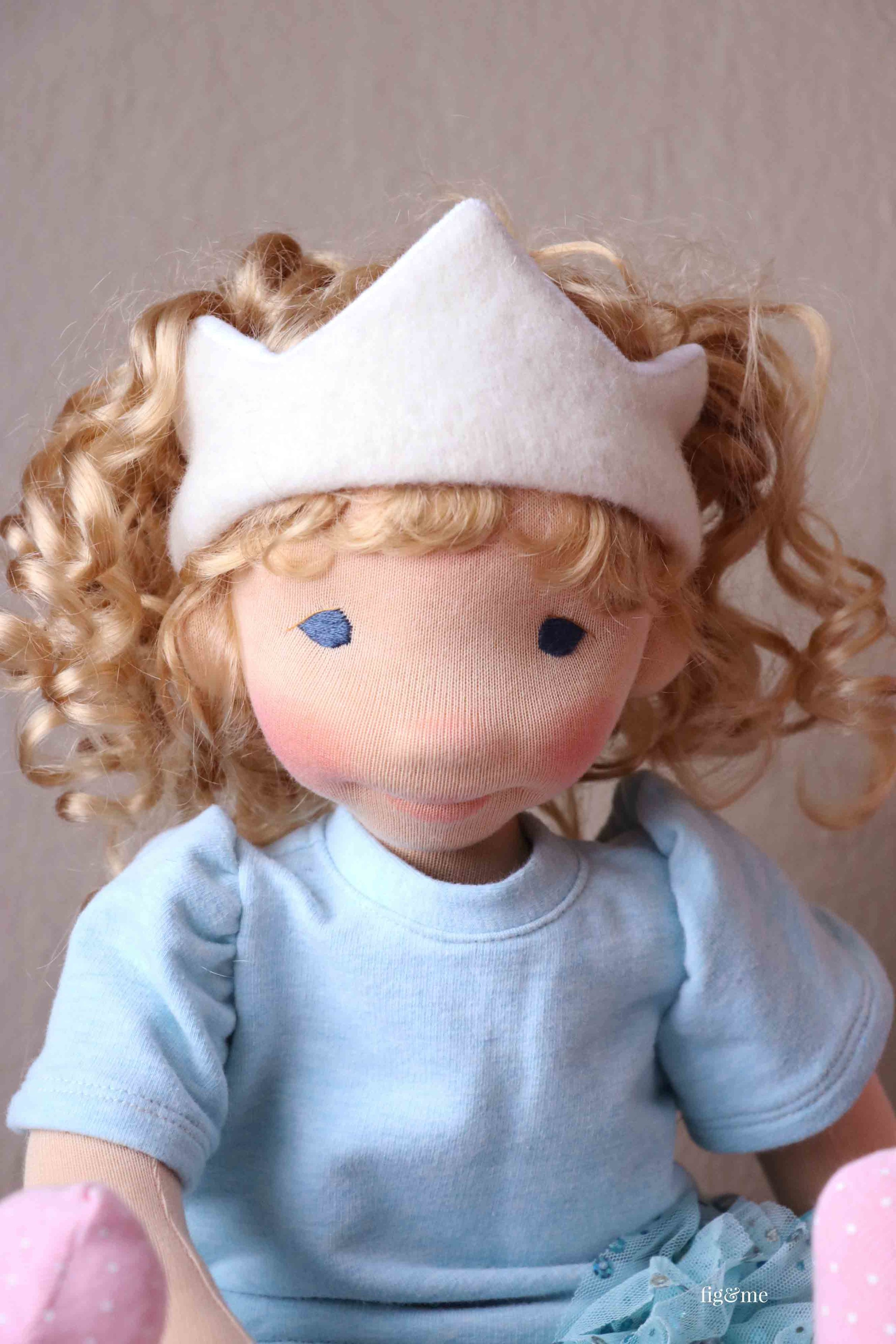 Little Amanda, a custom natural fiber art doll by Fig and Me.
