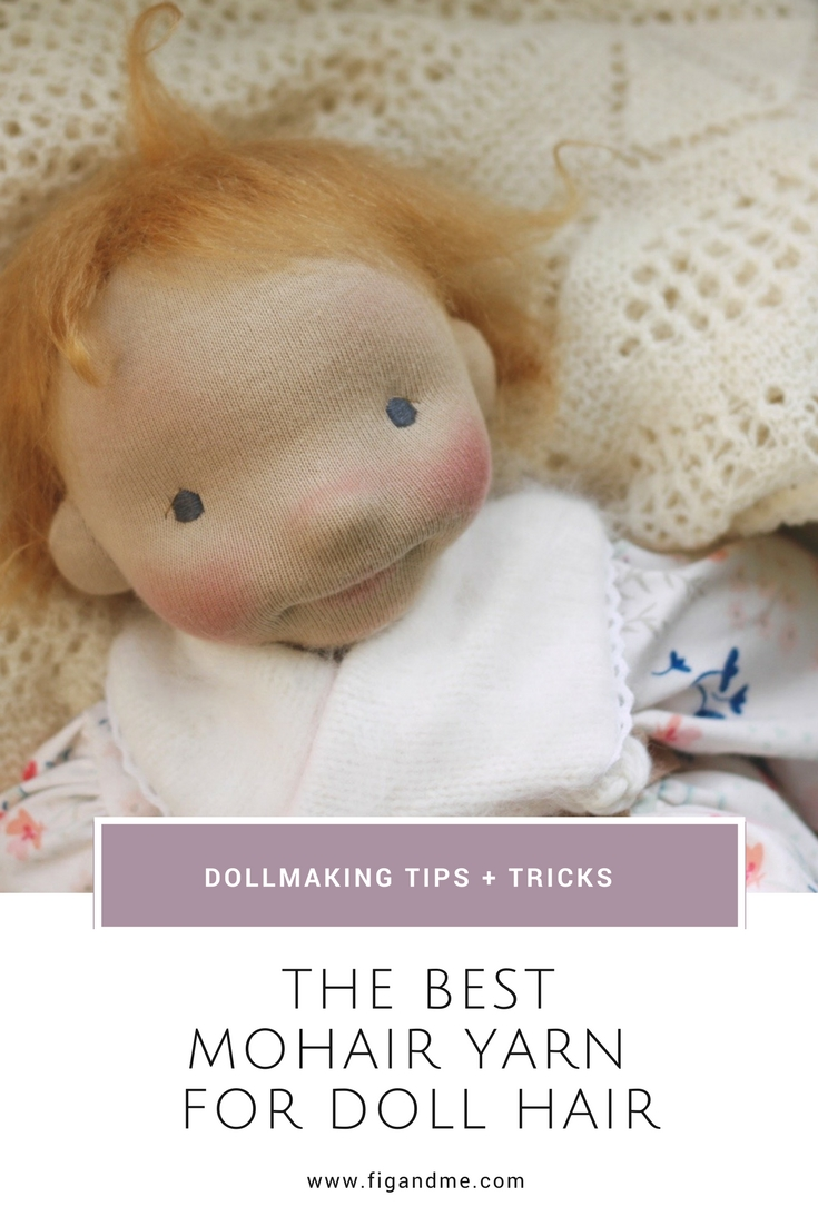 Discussing the properties of DollyMo, the best mohair yarn for doll hair. via Fig and Me.