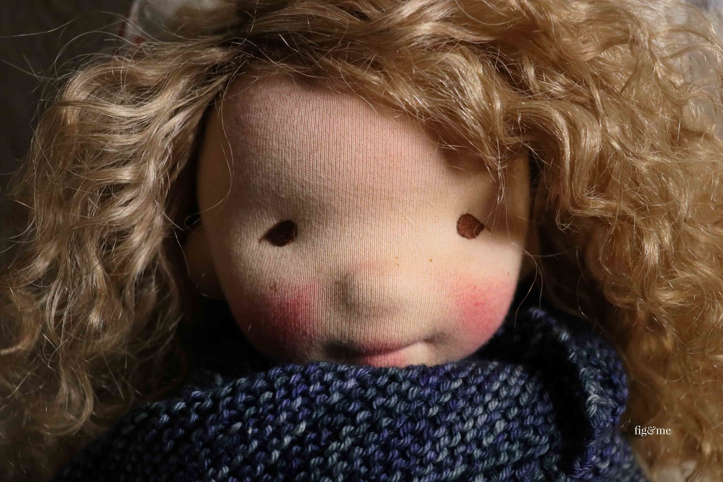 Thora is a natural fiber art doll created by Fig and Me. #freckleface #clothdoll