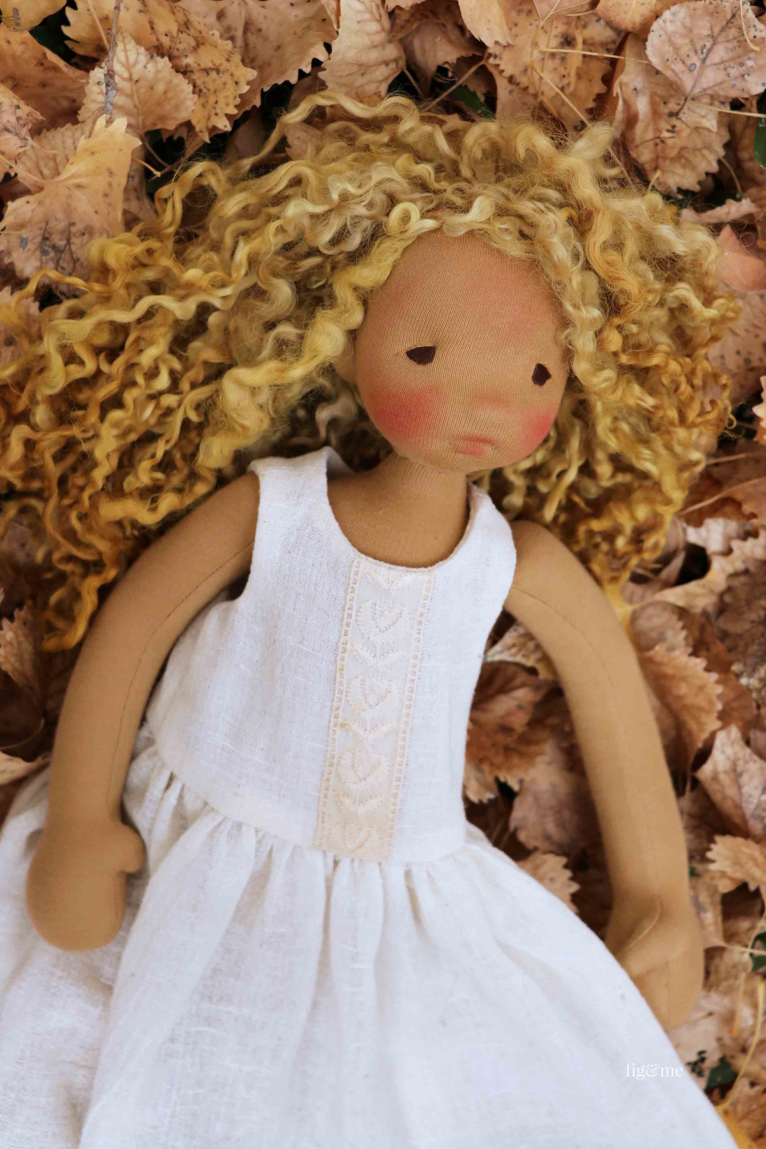 Mori, natural fiber art doll wearing a white gauze full petticoat or slip, by fig and me.
