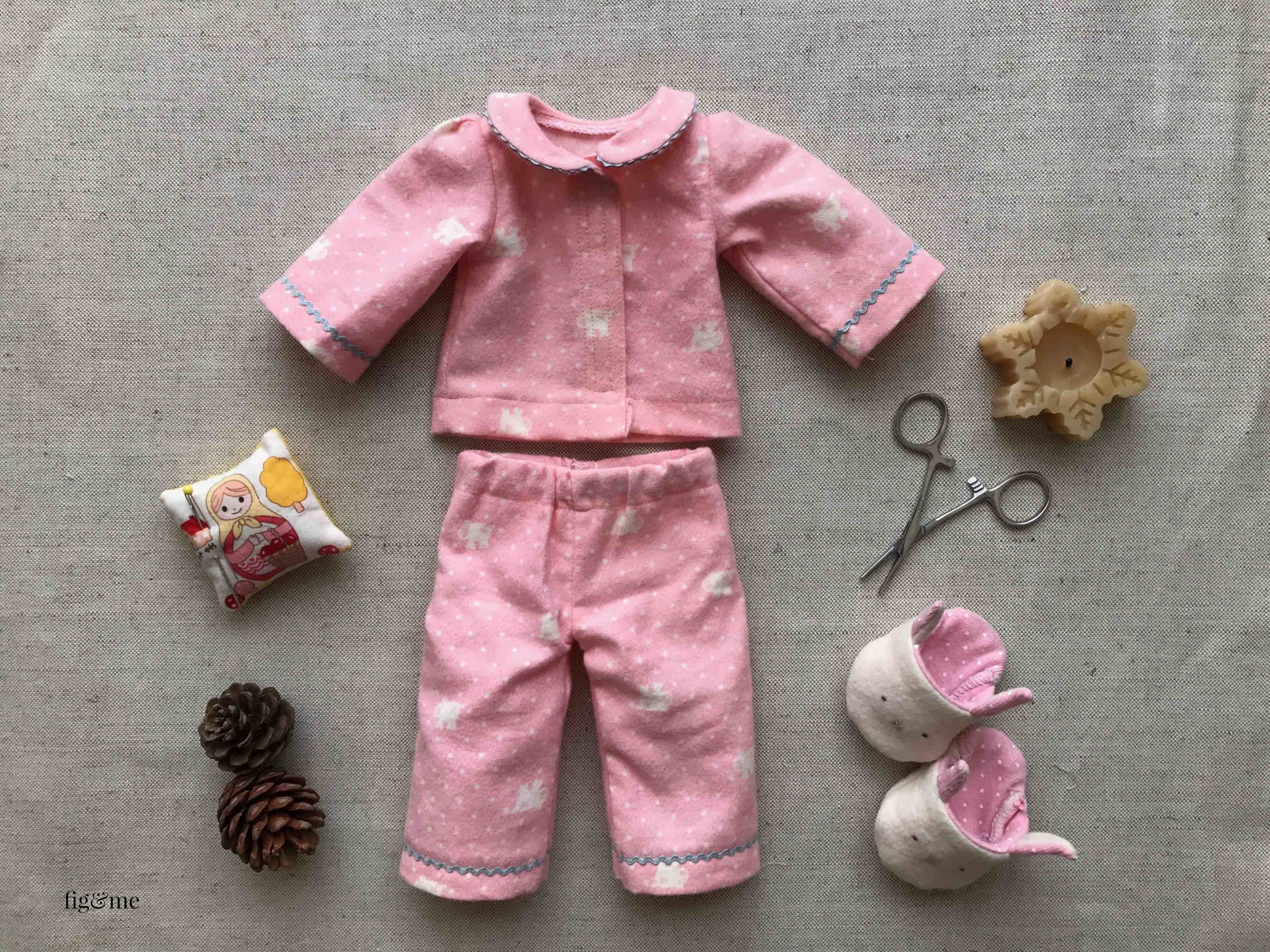 Both the JimJams and the Bunny Slippers patterns are now available. You can make a matching set of pyjamas and cozy slippers for your waldorf or natural fiber art doll. By fig and me. #dollclothing #sewingfordolls