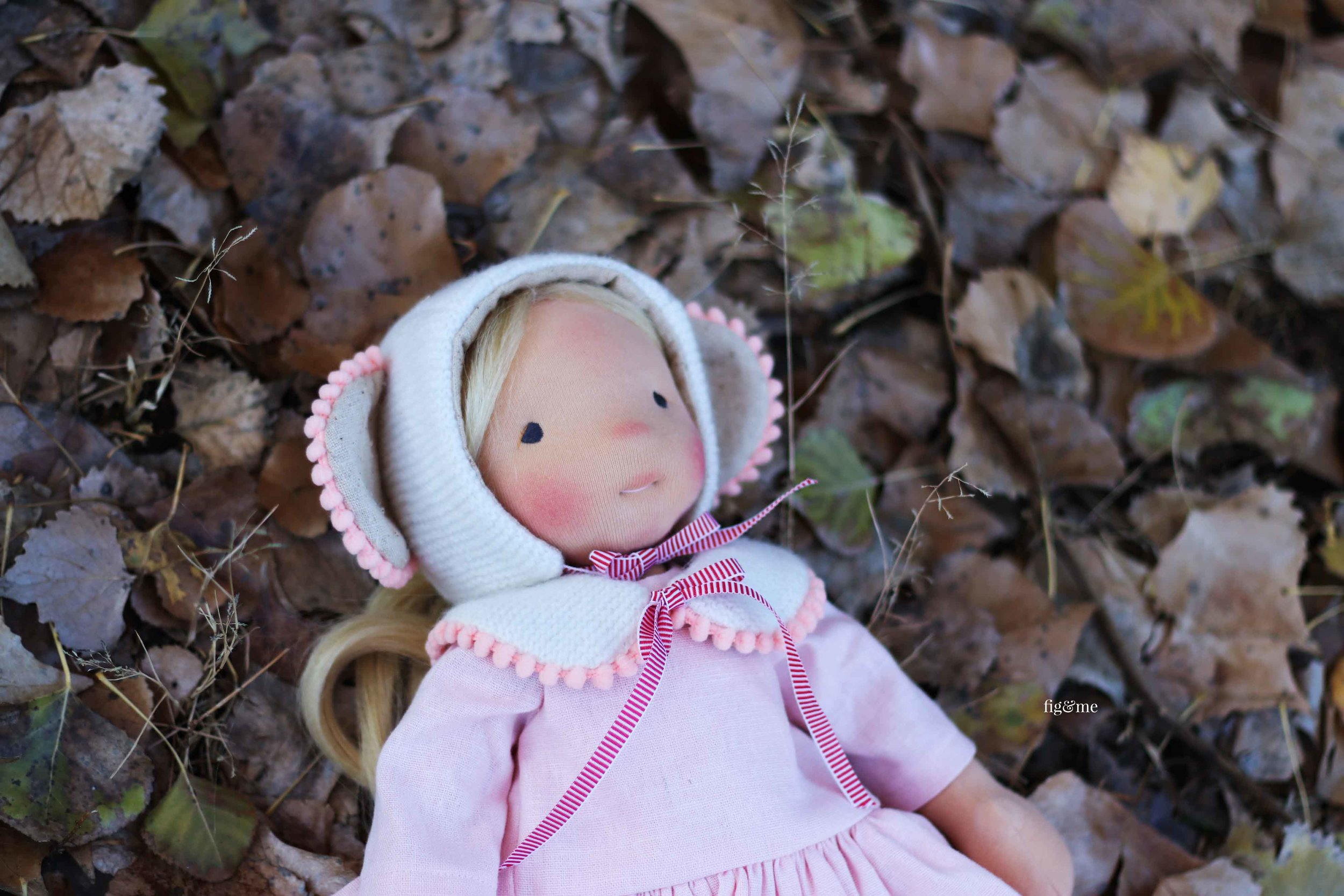 Little Amber, a natural fiber art doll by Fig and Me.