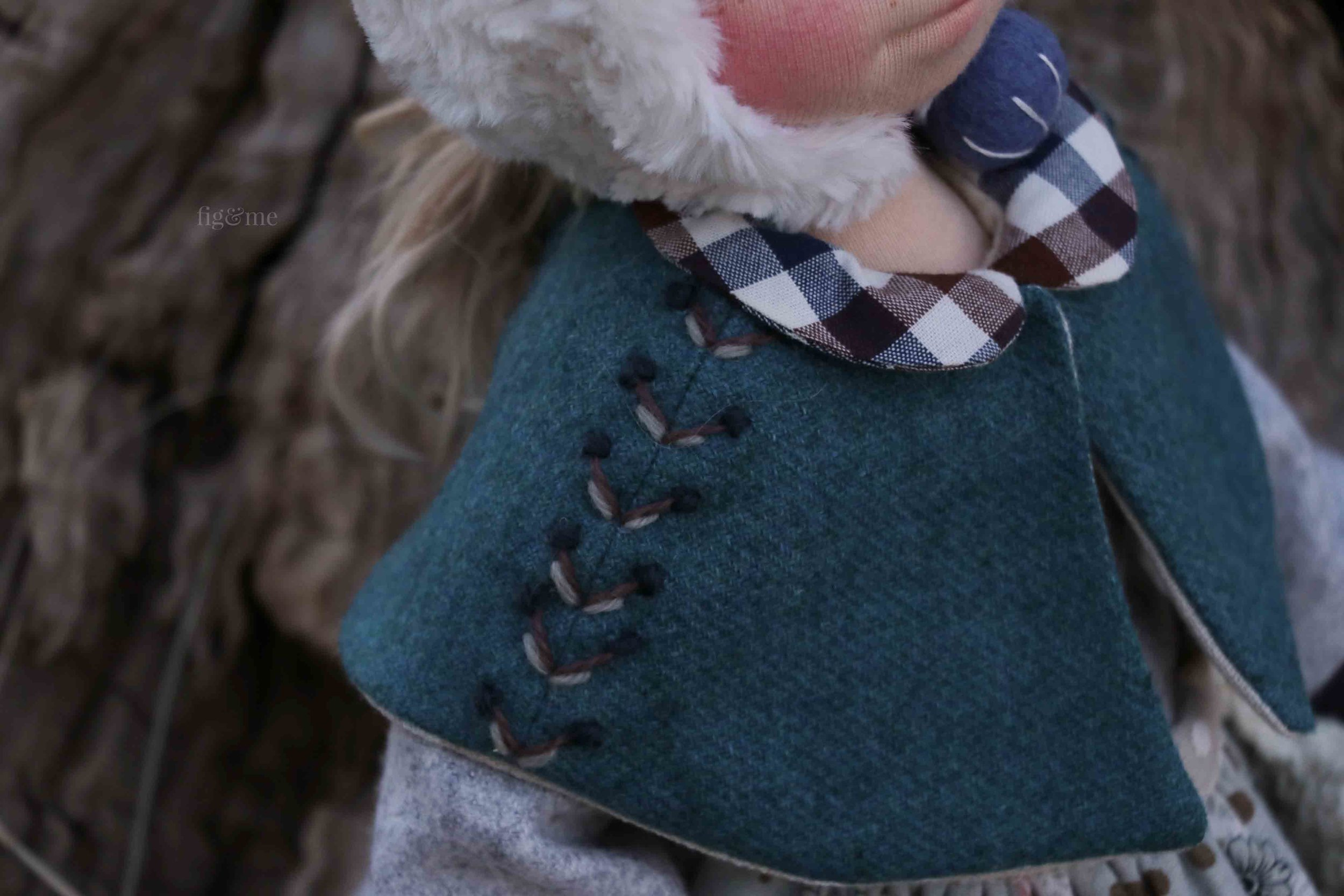 Wool embroidery on doll cape, by Fig and Me.