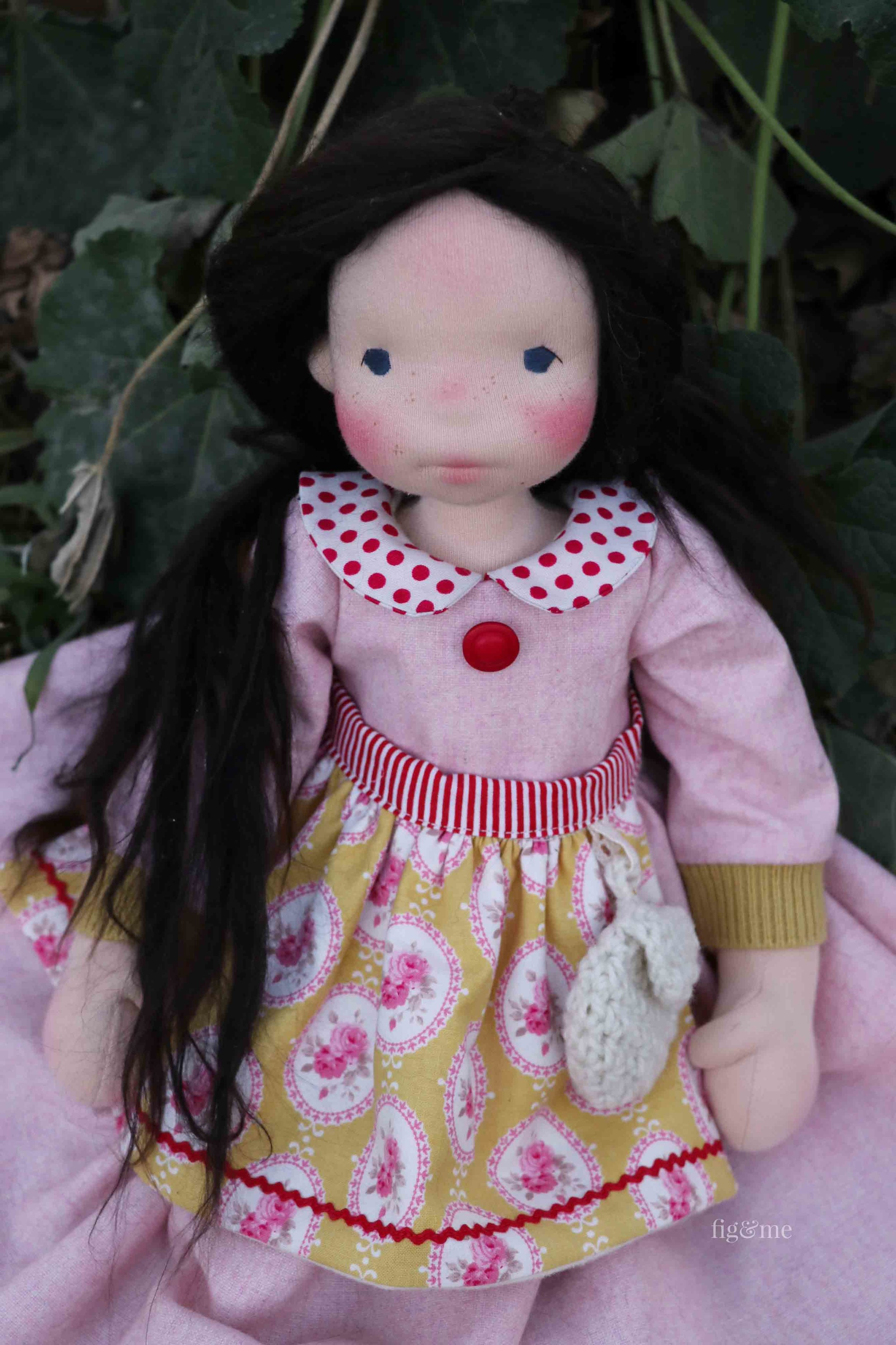 Rose Red in her lovely wool flannel dress, lined apron and wool satchel. By Fig and Me.