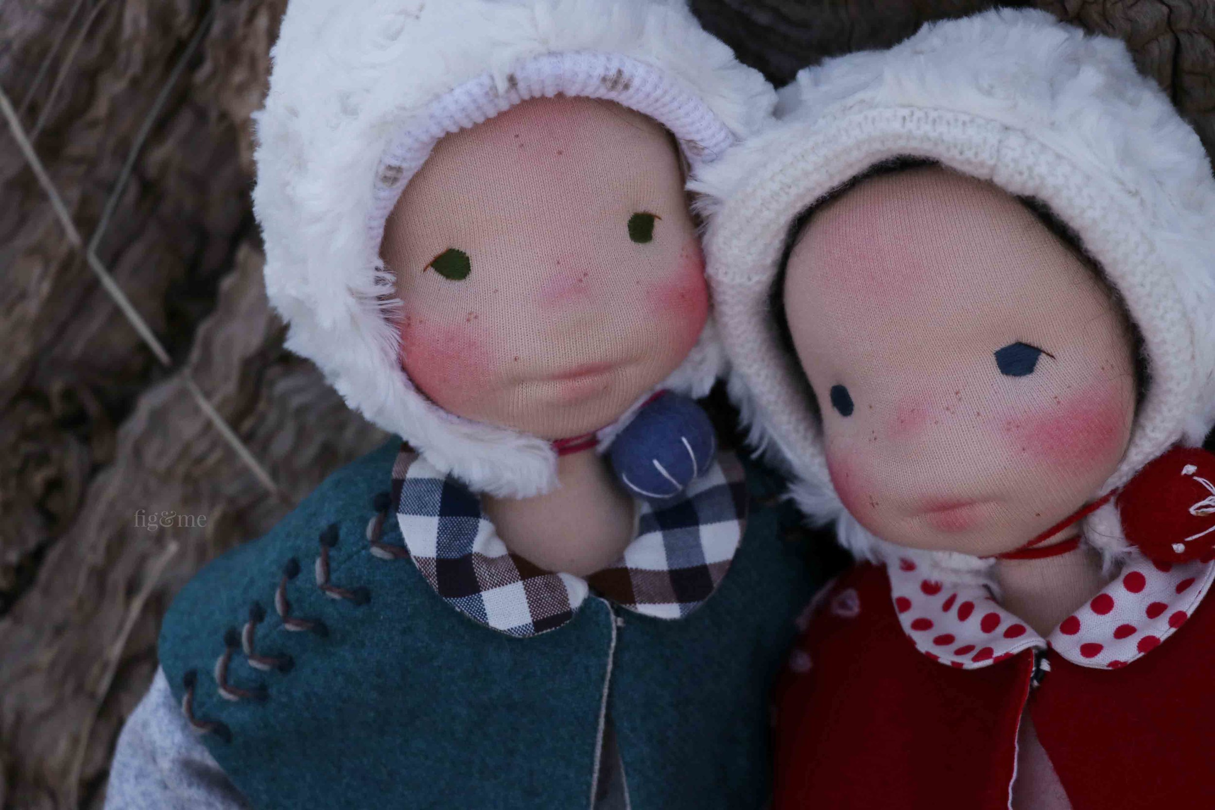 Snow White and her sister Rose Red, two natural fiber art dolls by Fig and Me.