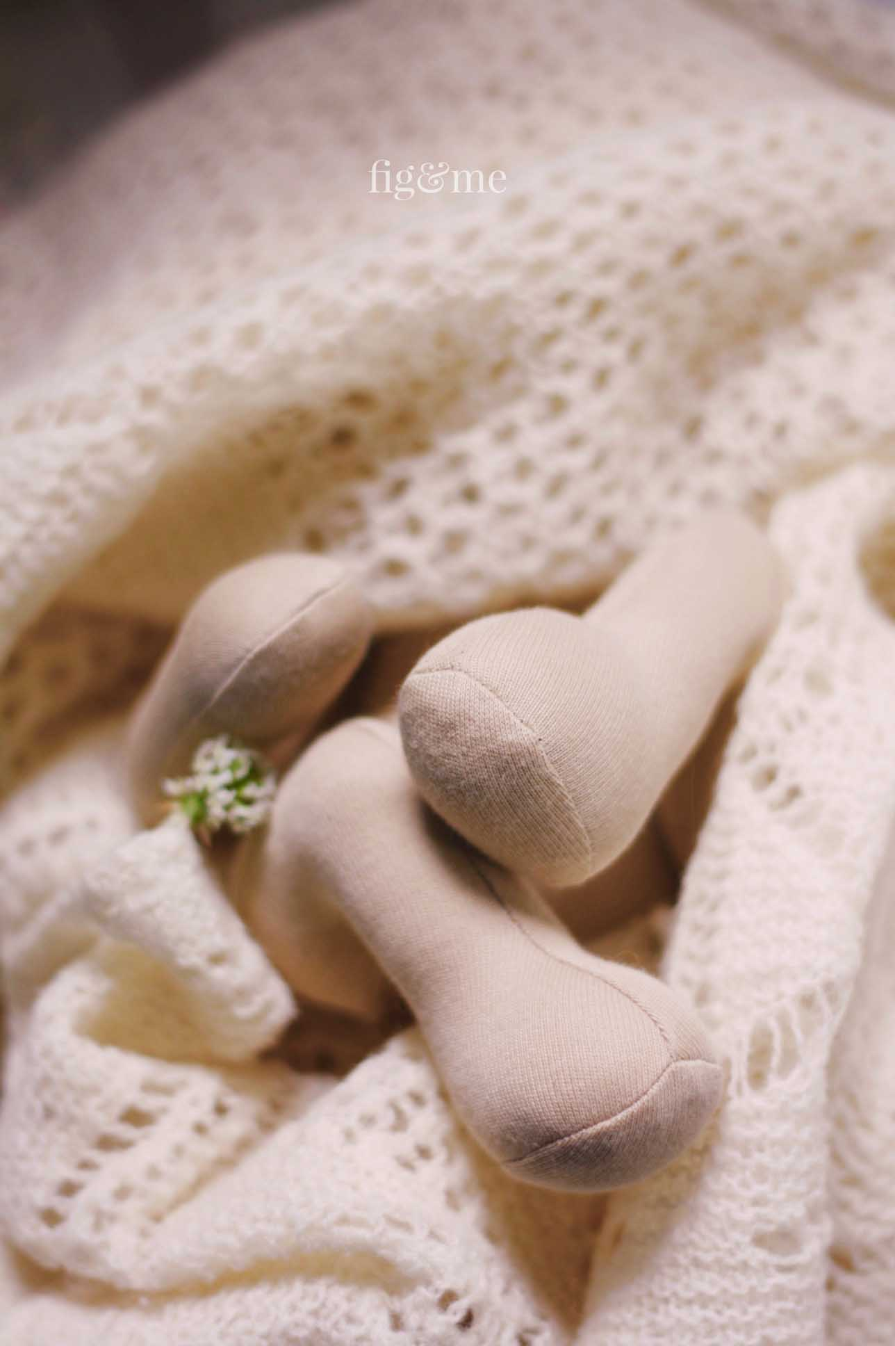 Sweet baby doll legs. Learn to make a baby doll with the Baby Fig doll pattern by Fig and Me.