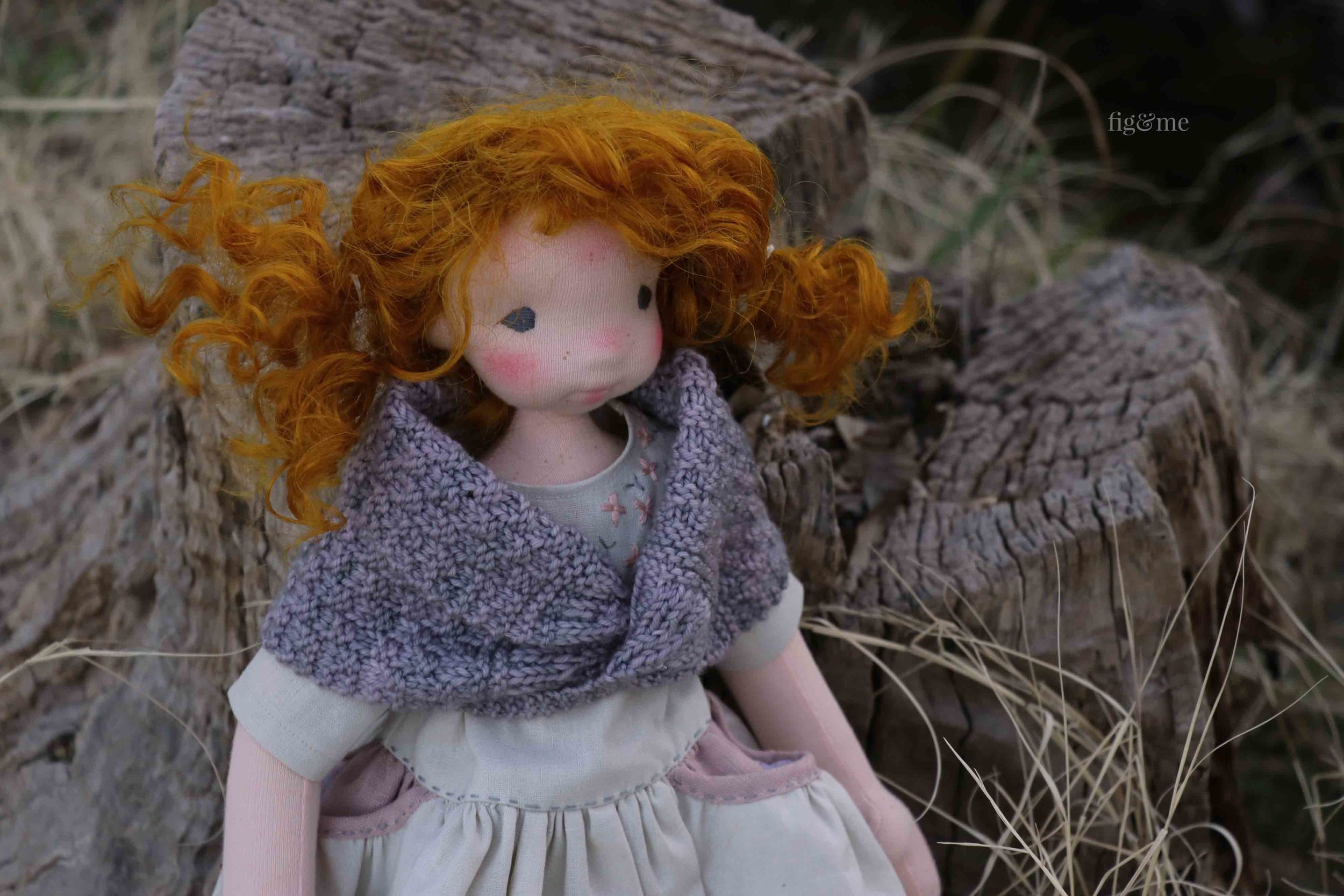 Maggie, a natural fiber art doll by Fig and Me.
