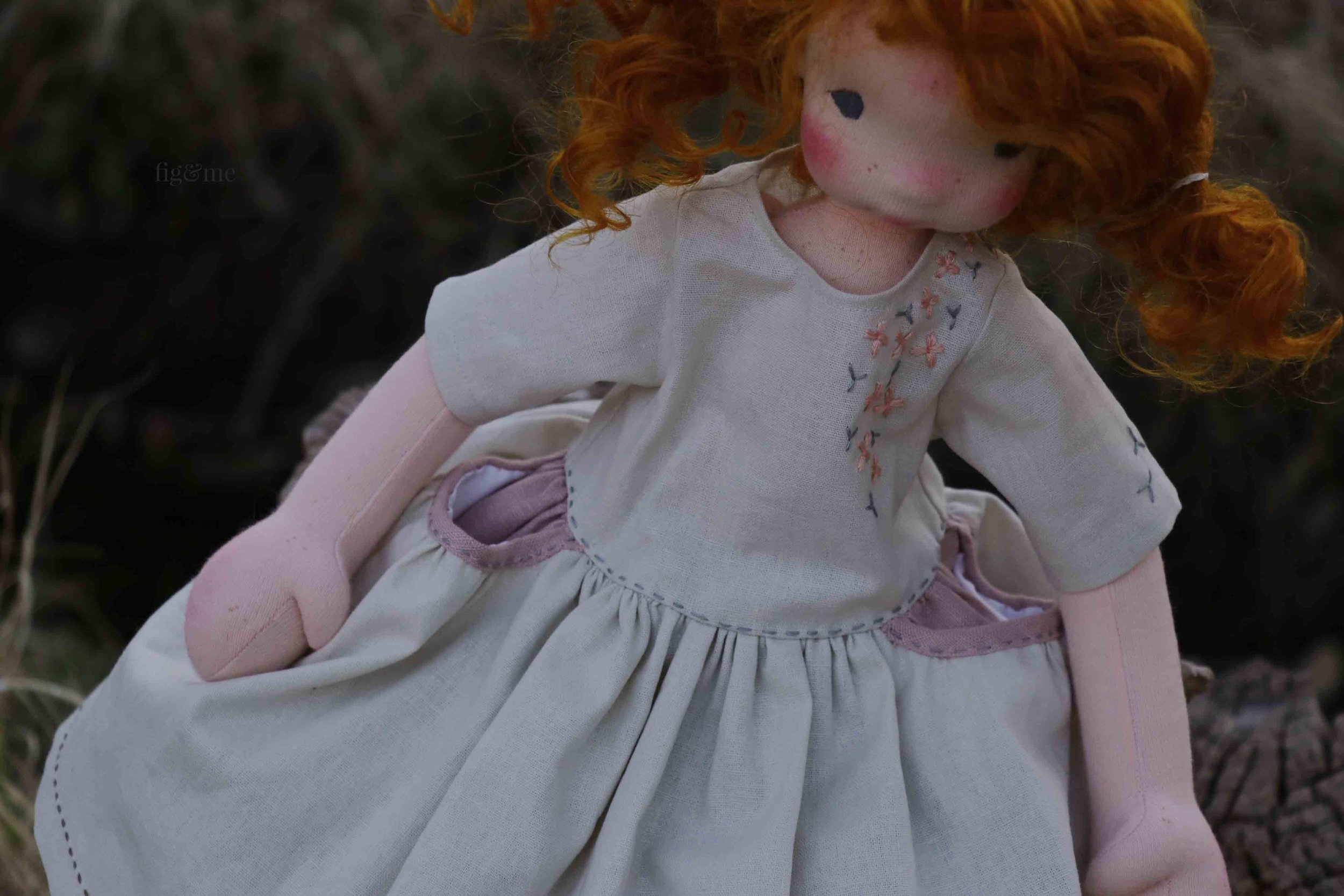 Maggie in her linen dress, by Fig and Me.