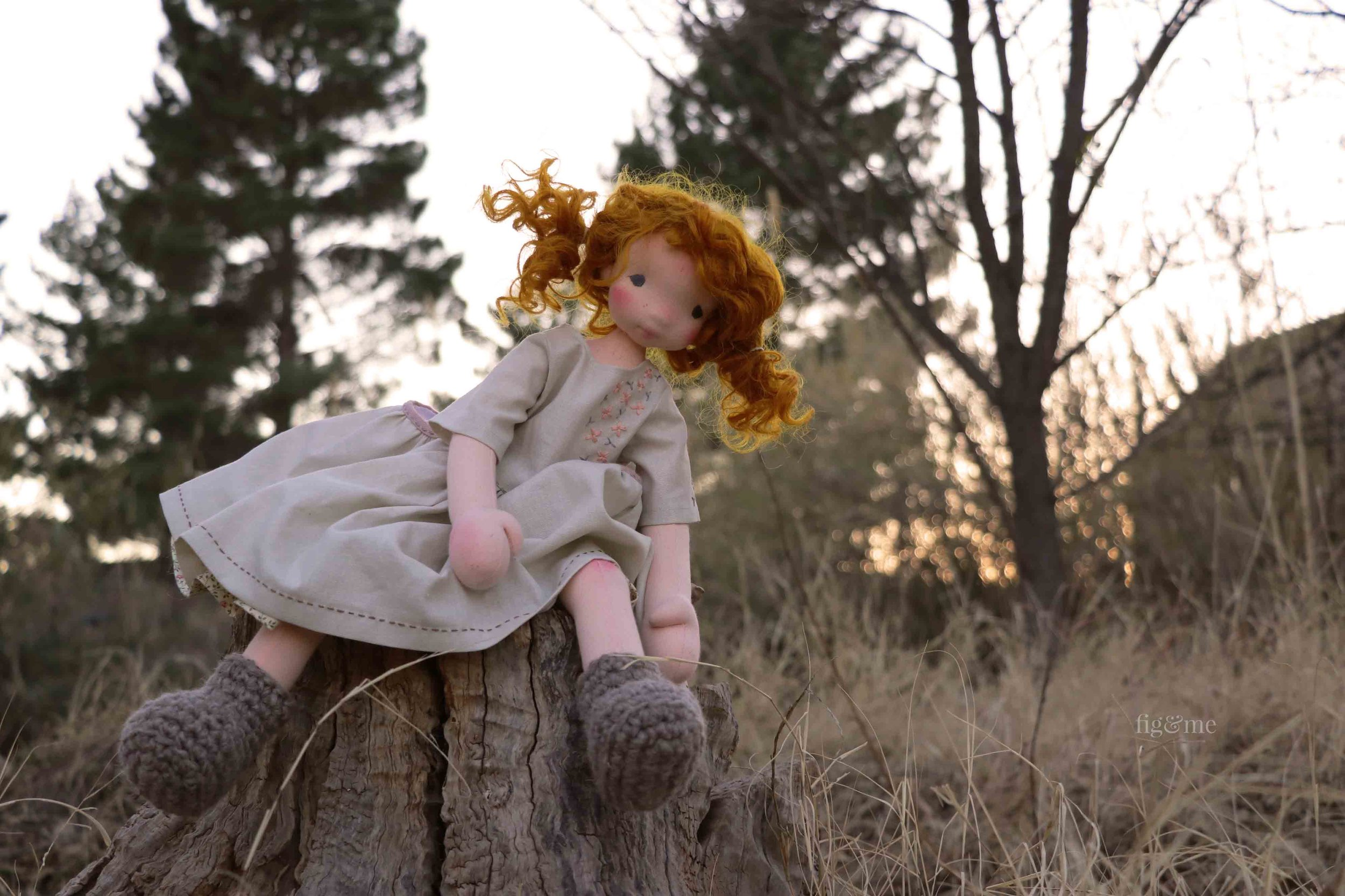 Maggie, the rapscallion. Natural fiber art doll by Fig and Me.