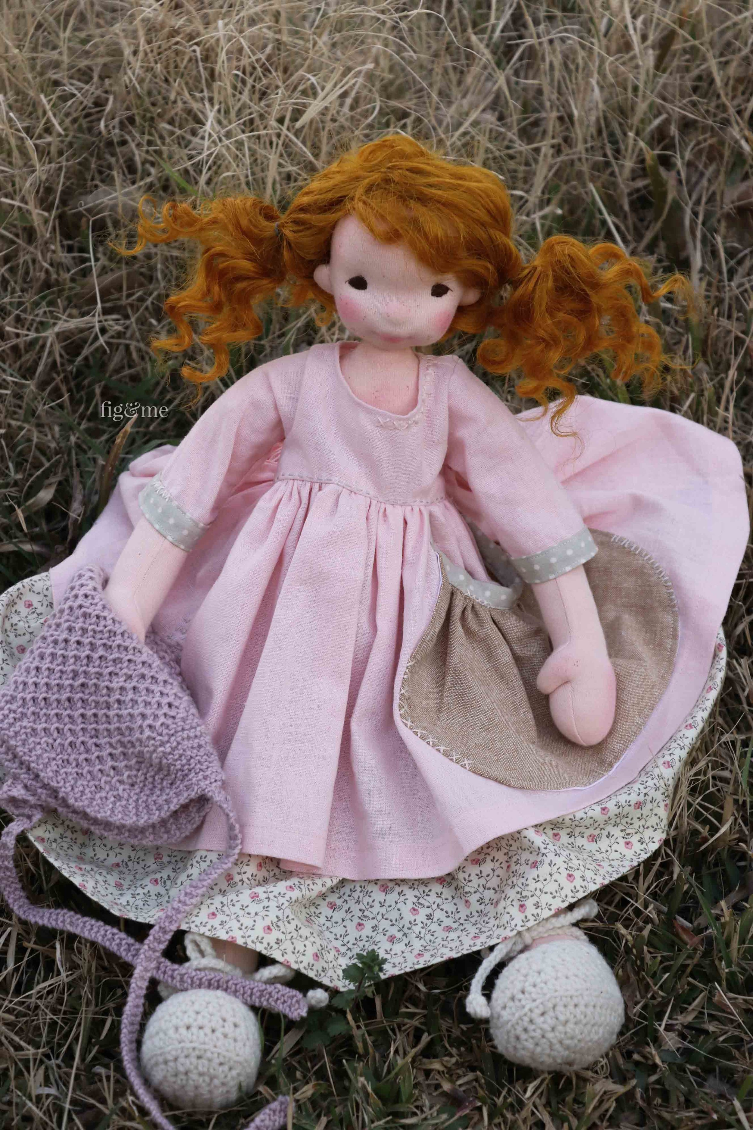 Orla by Fig and Me. Natural fiber art doll.