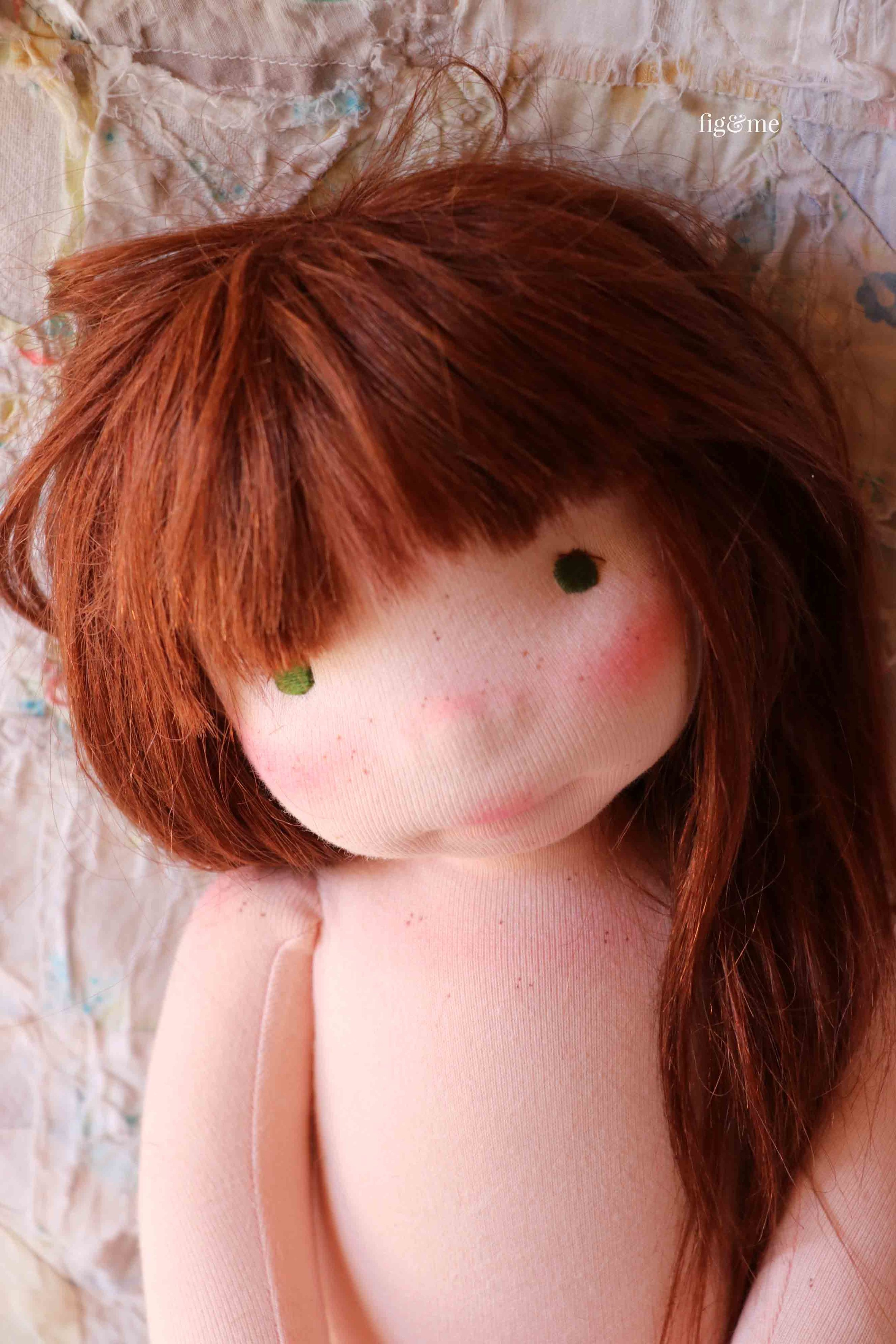 """Aibreann is a custom Figlette doll, made by Fig and Me. Measures about 18"""" tall and is made with all natural materials. #naturalfiberartdoll #dollmaking"""