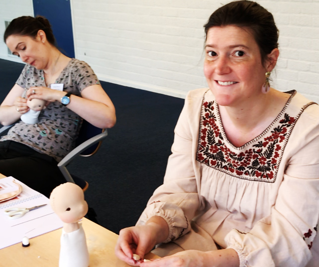 Beautiful Francine, sewing patiently her doll. European Waldorf Doll Seminar 2018, Fig and Me Workshop.