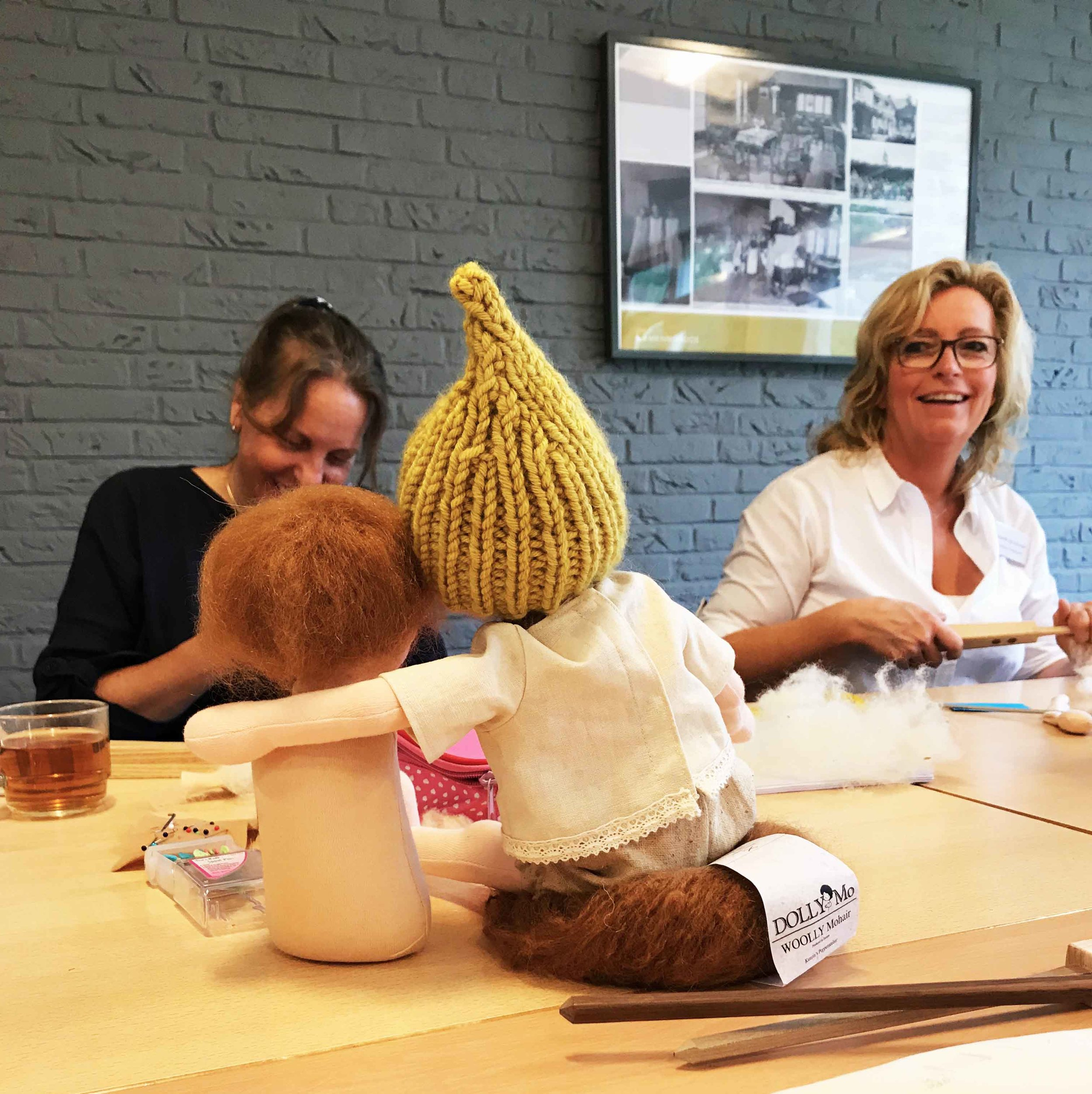 Such a great atmosphere, to sit with others and create dolls. The world really is better for it. Fig and me doll workshop.
