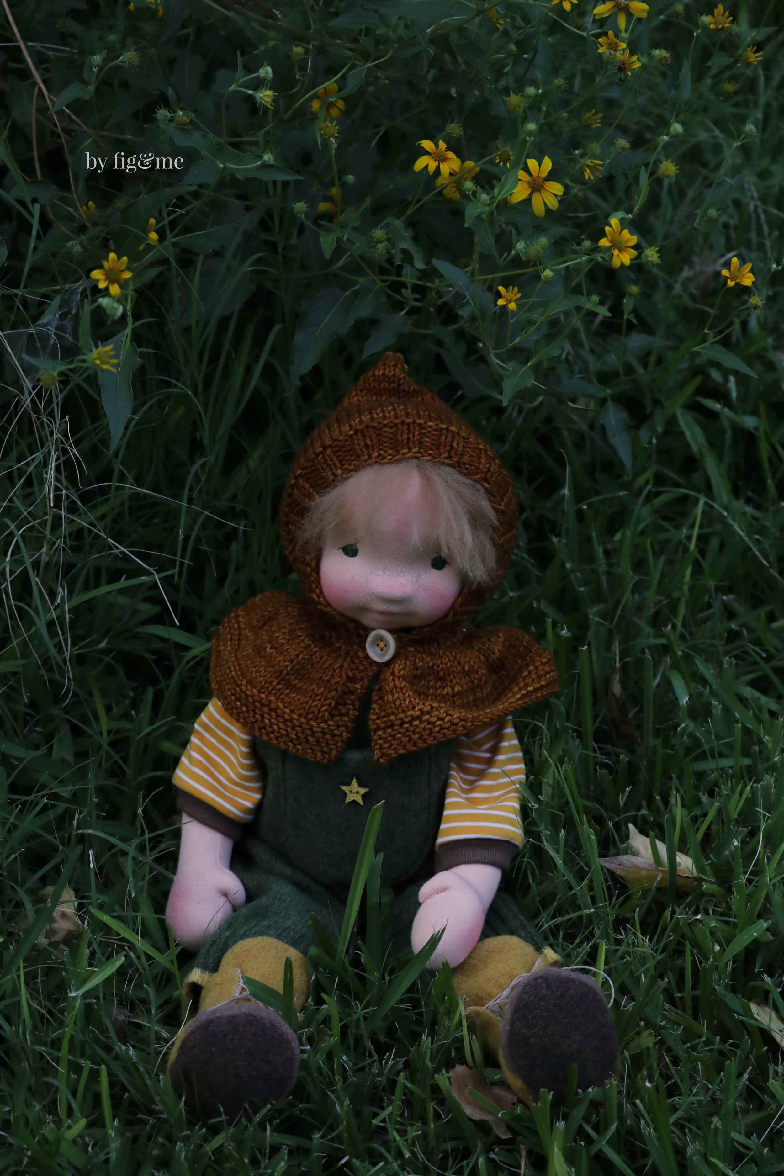 Wulfric, a natural fiber art doll by Fig and Me.