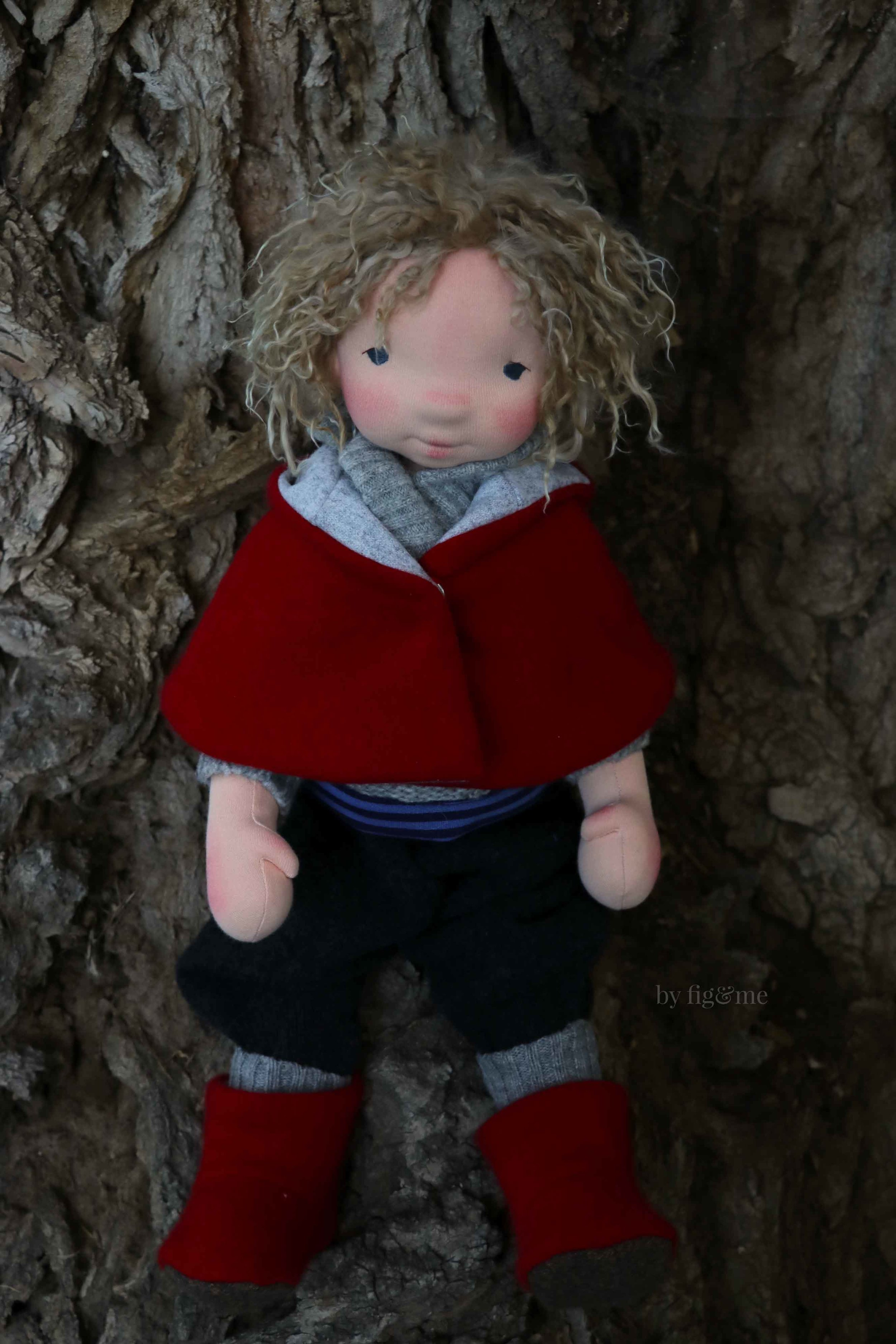 Amos, a natural art doll by Fig and Me.