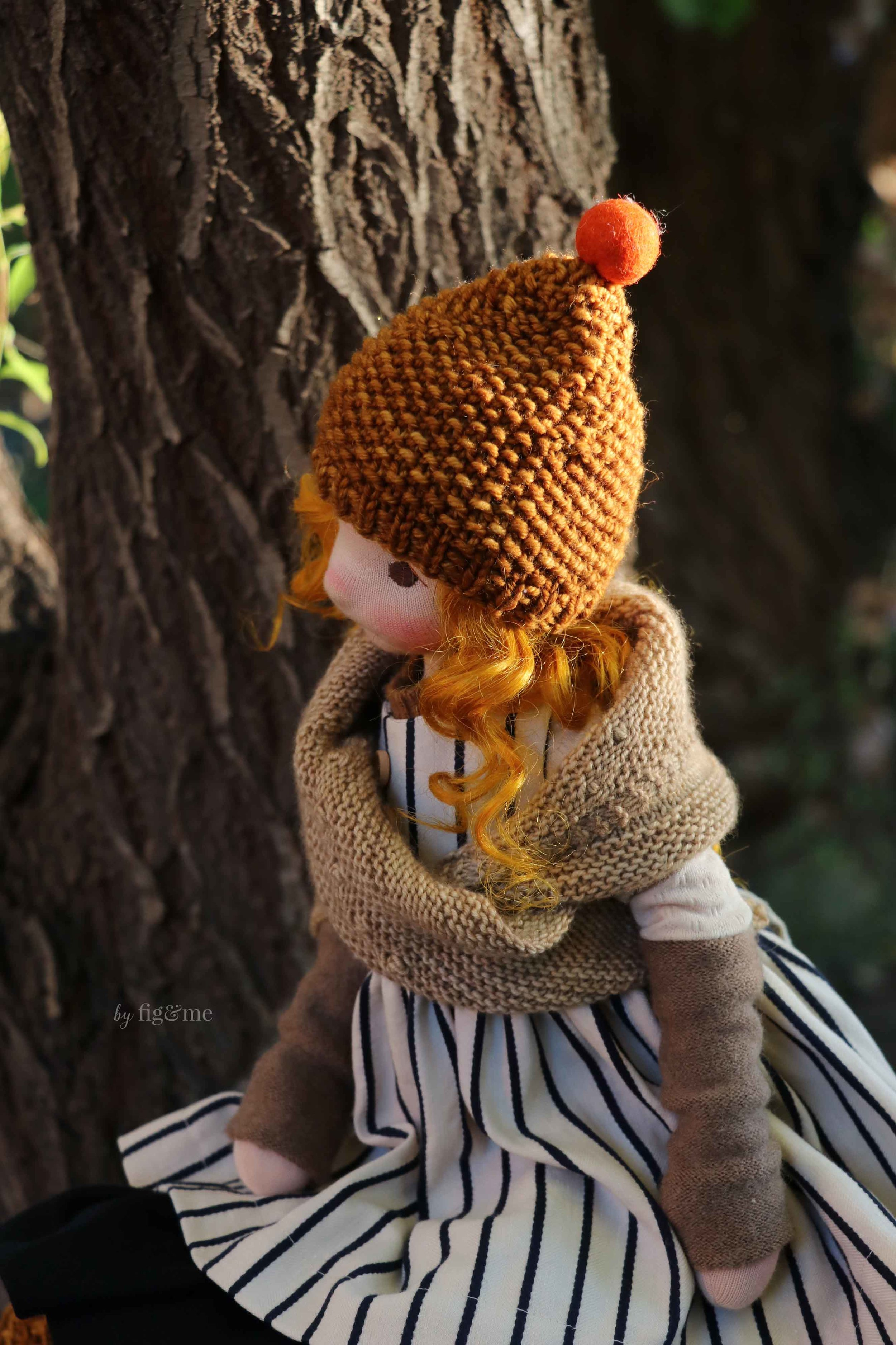 Rye, a jointed cloth art doll by Fig and Me.