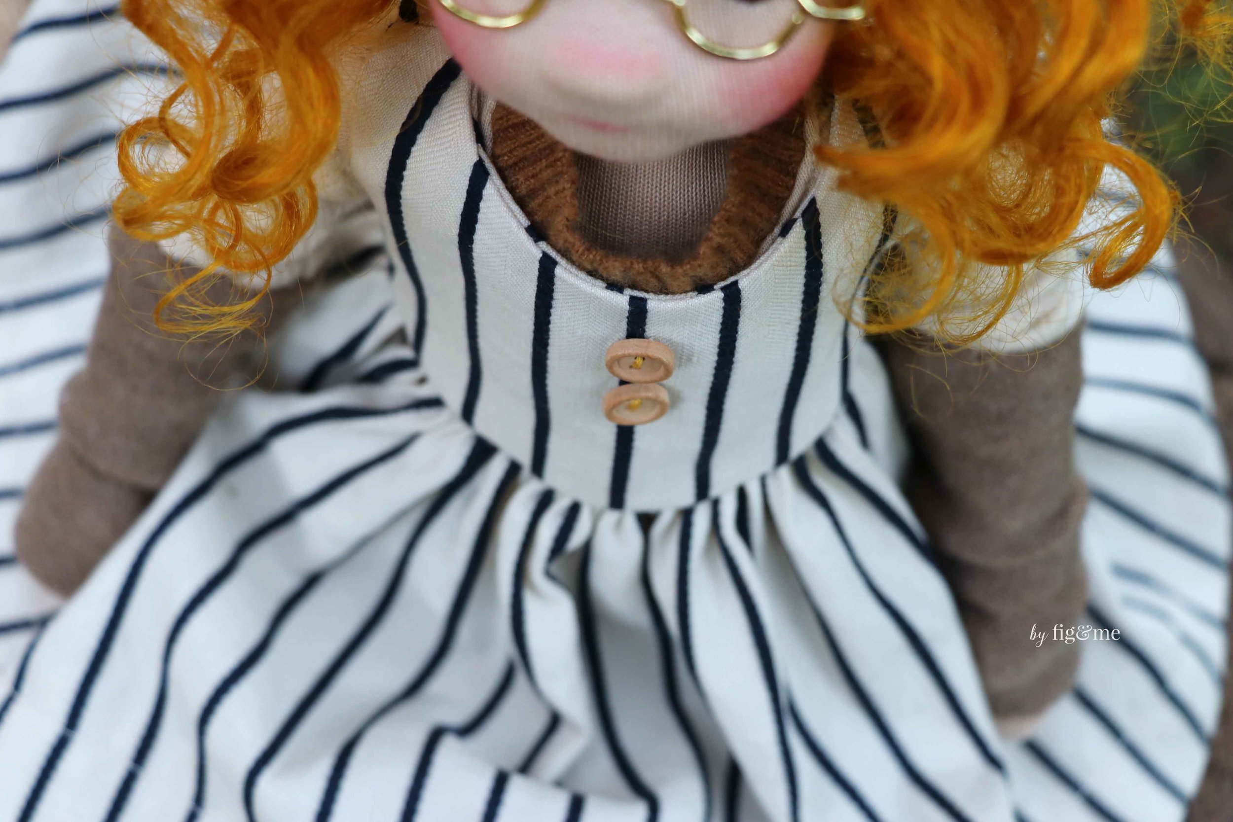 Little wooden buttons. Doll clothing by Fig and Me.
