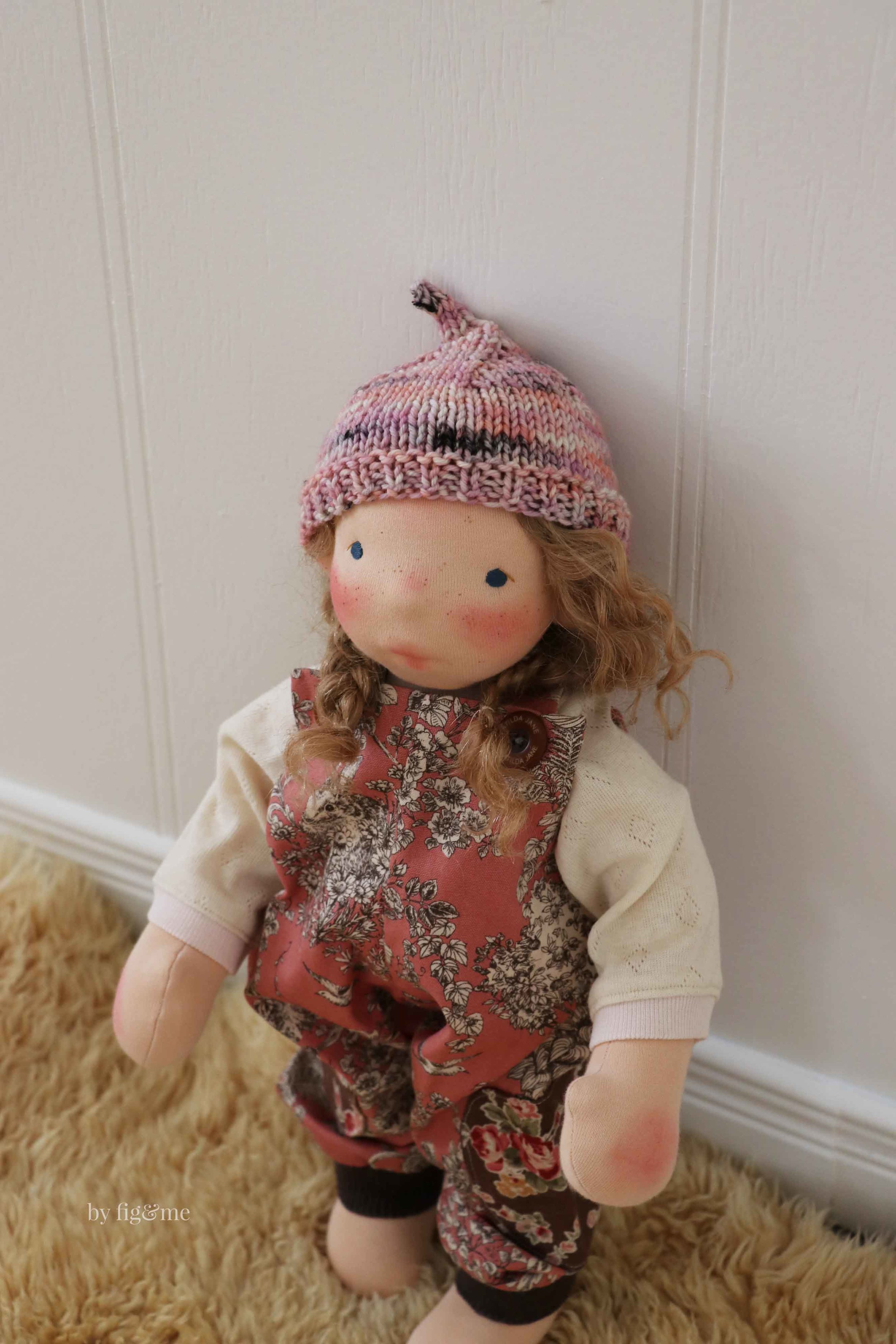 Ava, a doll made with my newly published doll pattern: Big Fig. via Fig and Me.