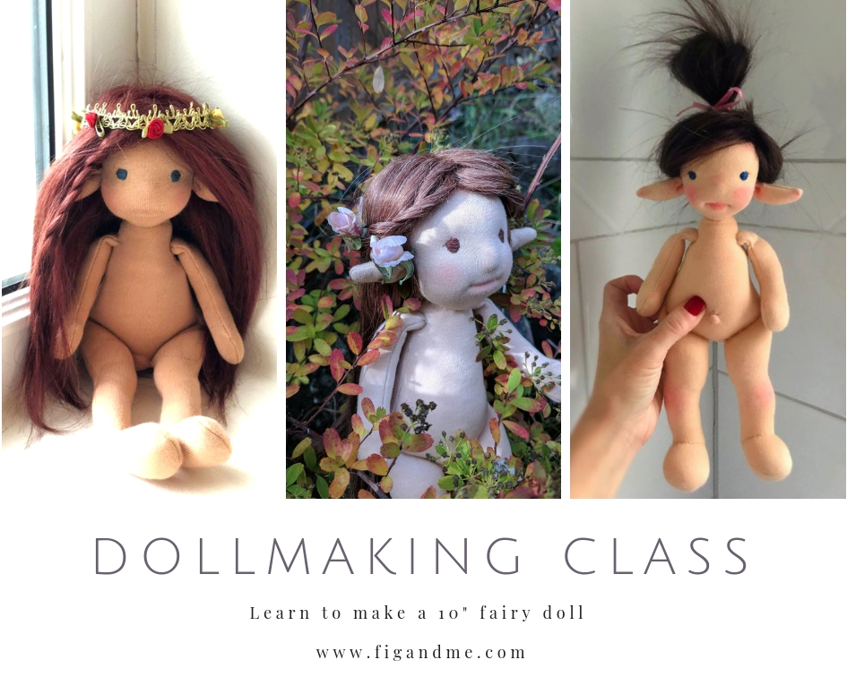 Some of the fairies created during my online dollmaking class, via Fig and Me.