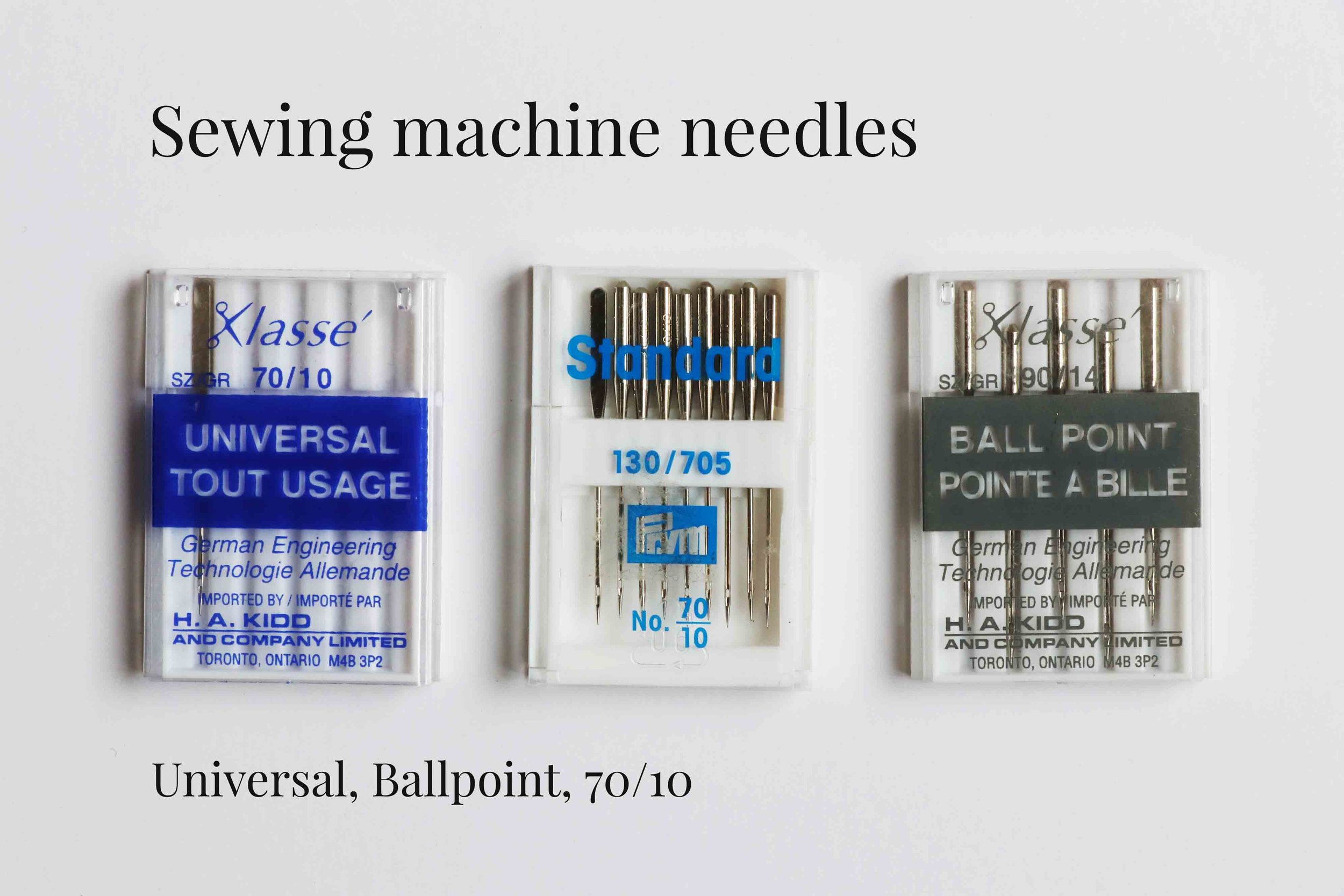 Sewing machine needles recommended to sew natural fiber art dolls, via Fig and Me.