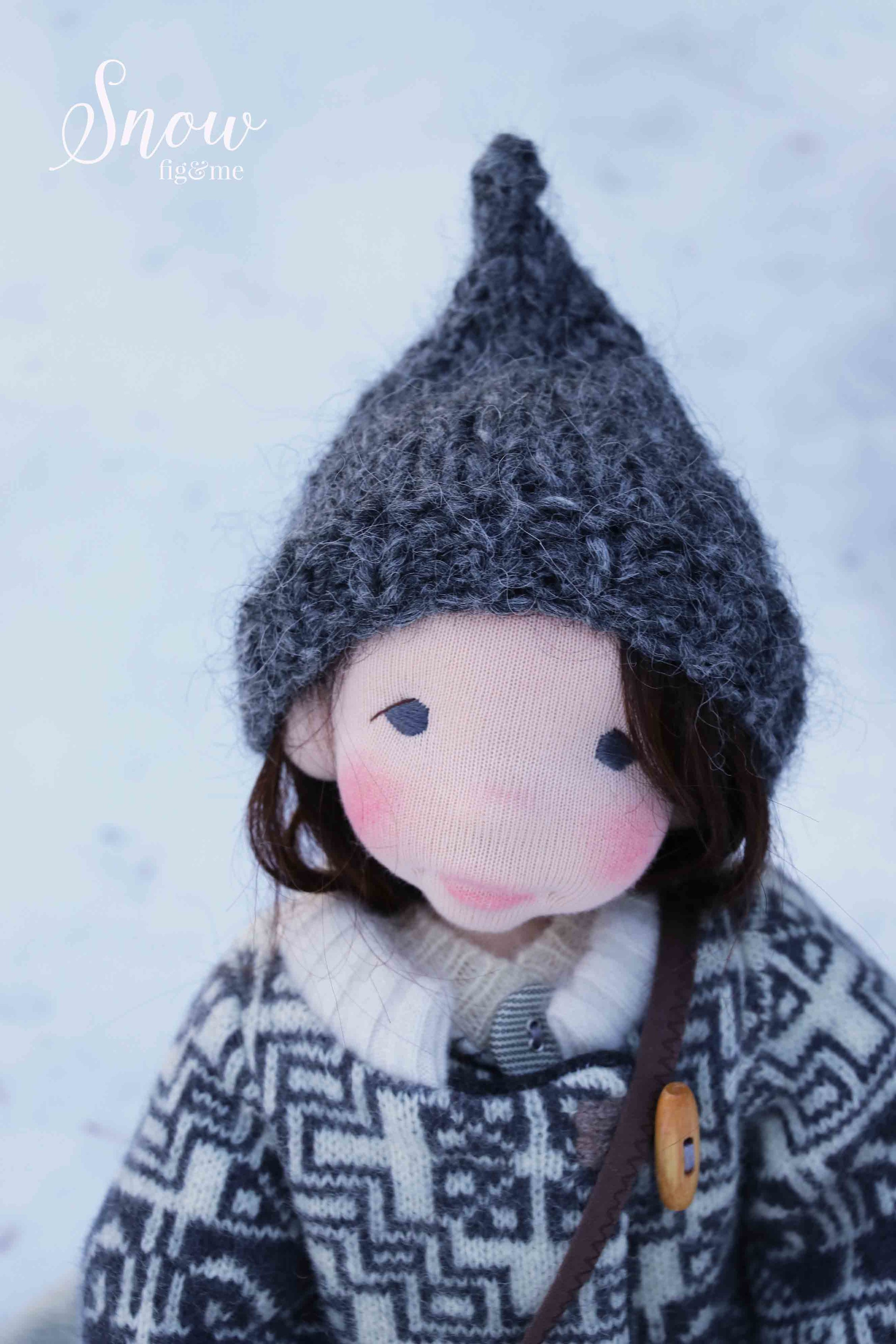Snow, a natural, fiber art doll, by Fig and Me