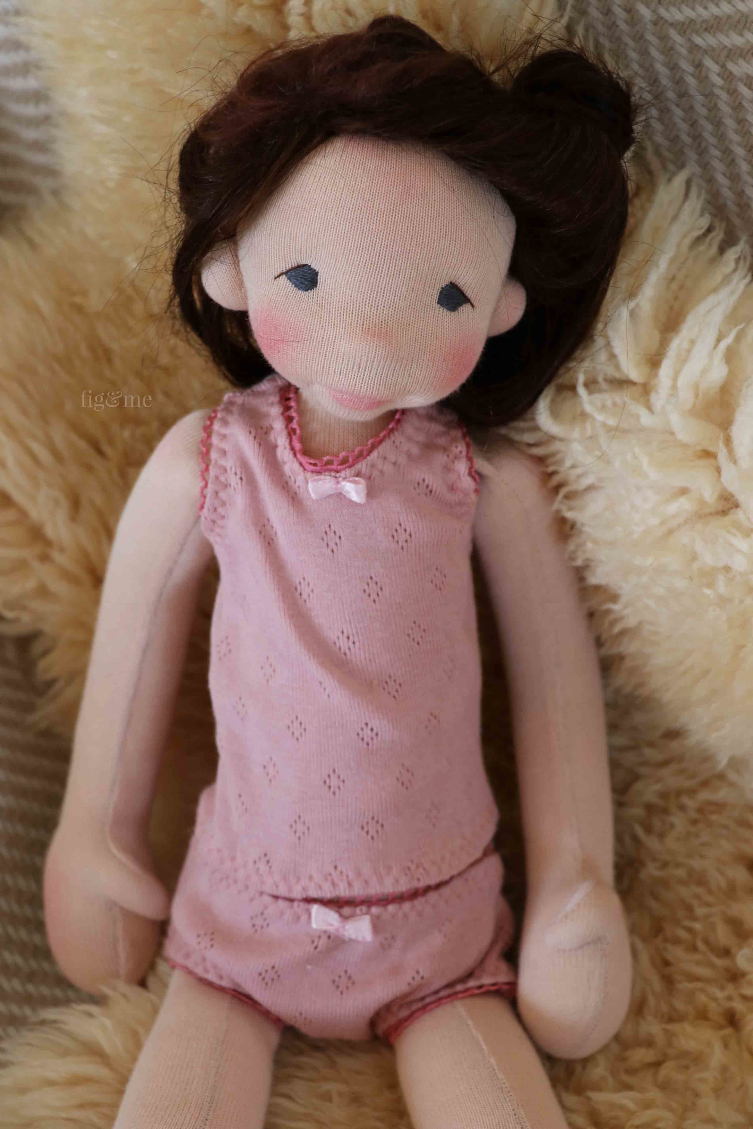 Snow in her doll underwear, made with tiny bows and cotton pointelle. by Fig and Me