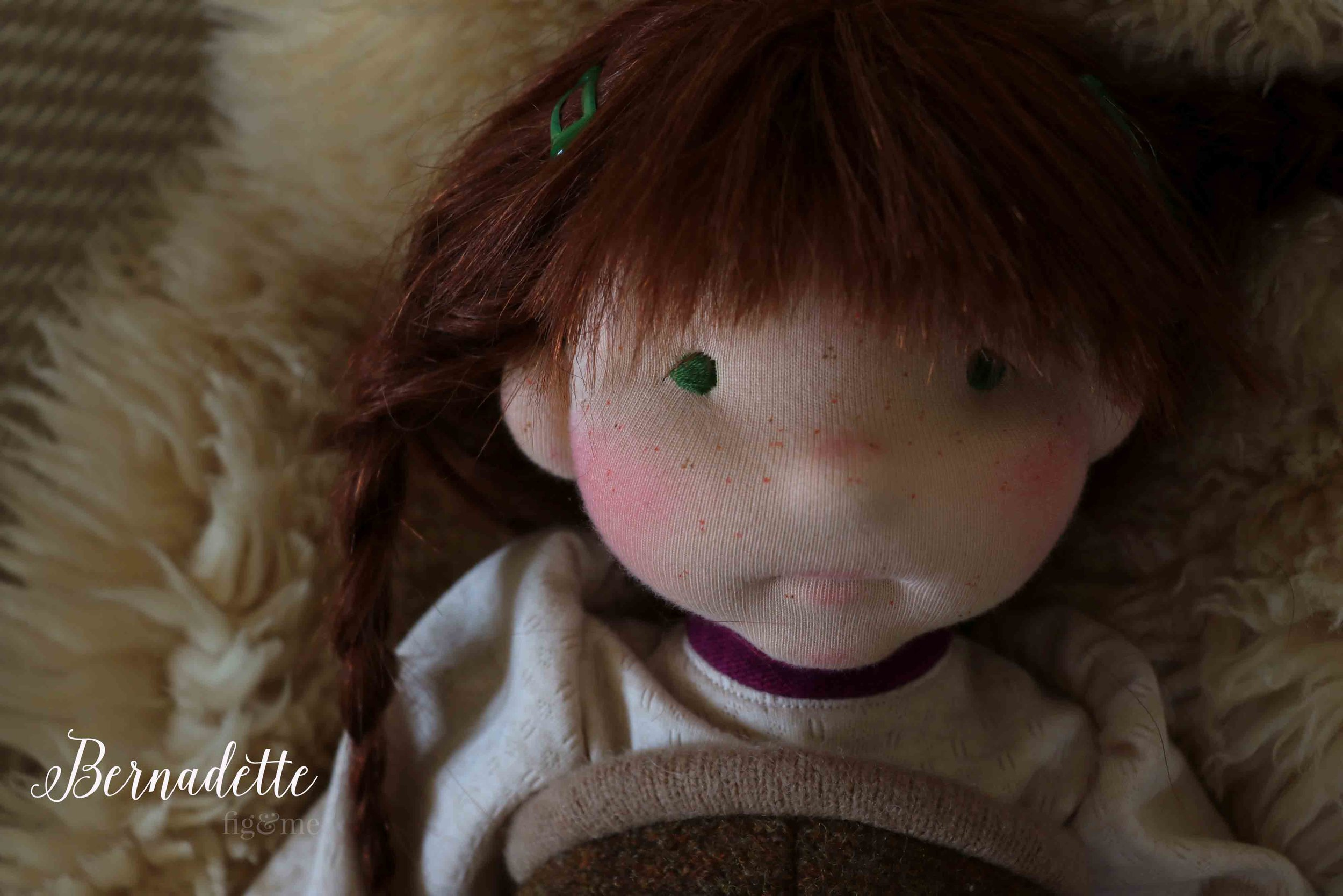 Bernadette, a custom natural fiber art doll by Fig and Me